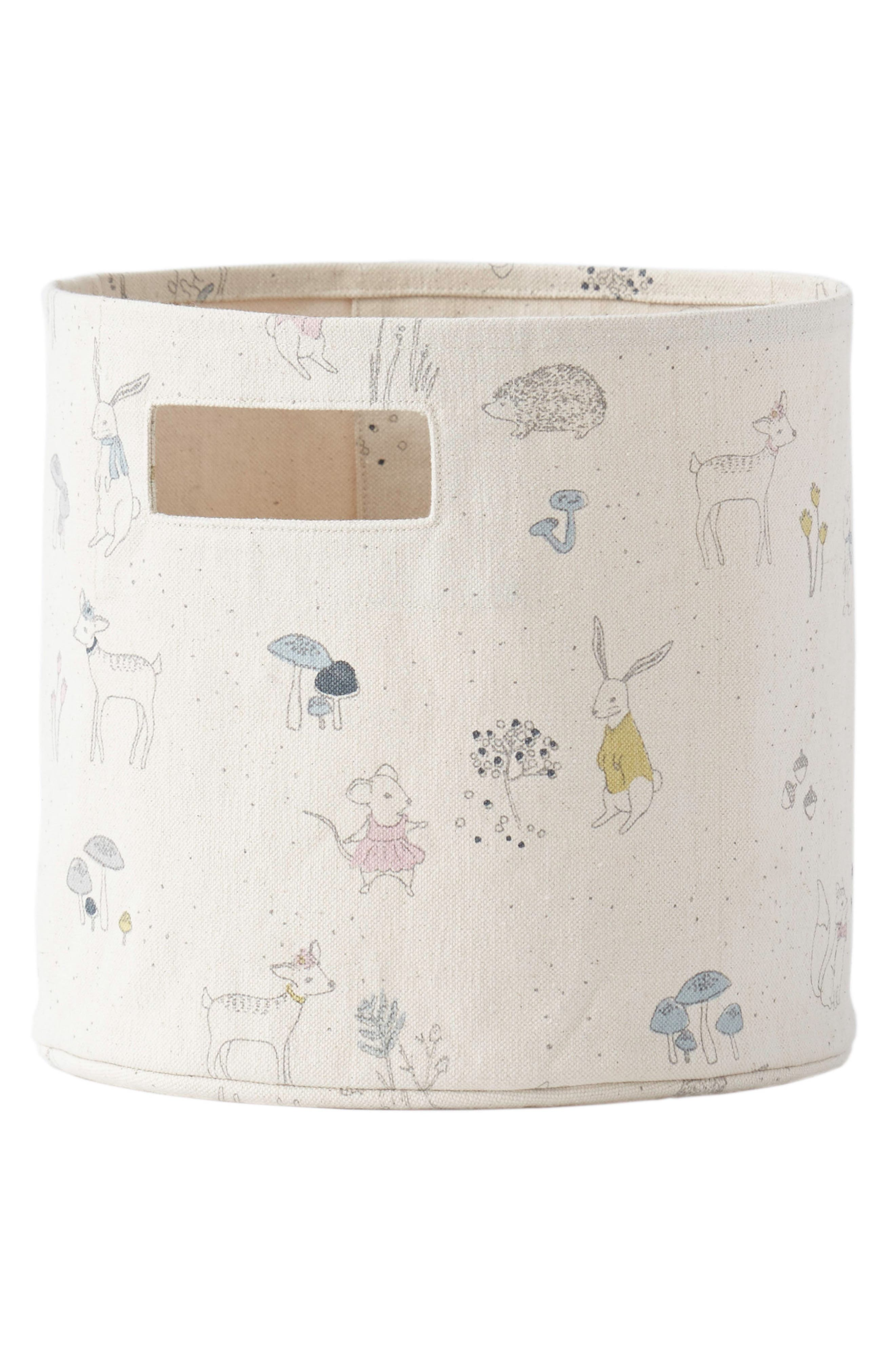 Magical Forest Canvas Bin,                         Main,                         color, Grey