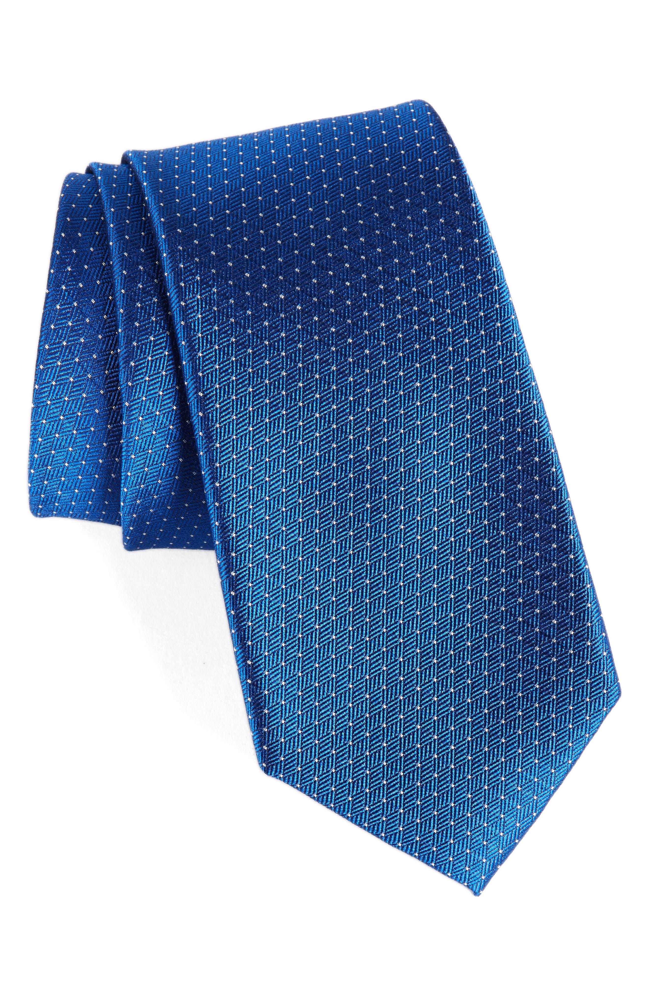 Parquet Pin Dot Silk Tie,                             Main thumbnail 1, color,                             Royal