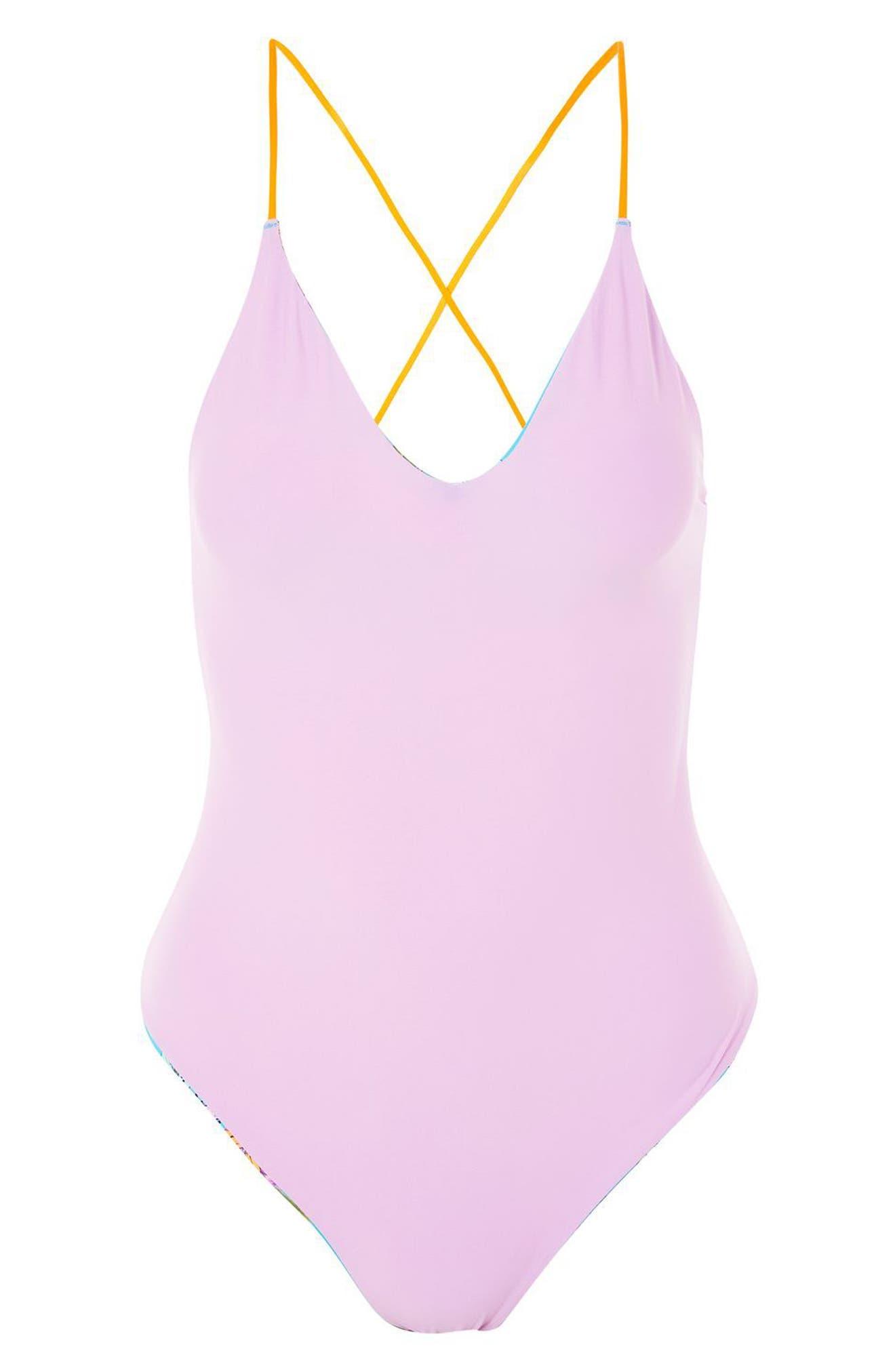 Tropical Print Reversible One-Piece Swimsuit,                             Alternate thumbnail 3, color,                             Blue Multi