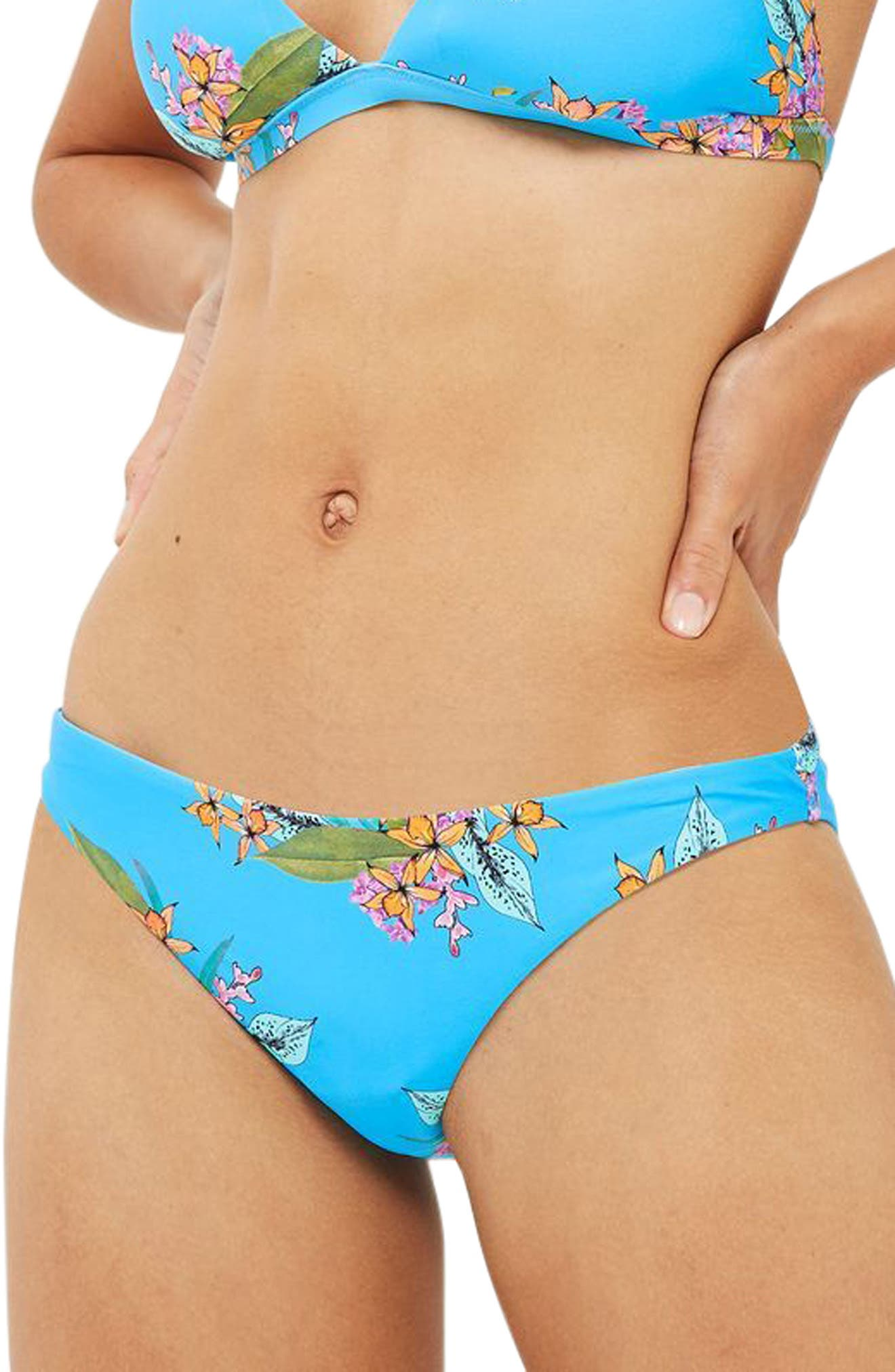 Tropical Print Bikini Bottoms,                         Main,                         color, Blue Multi