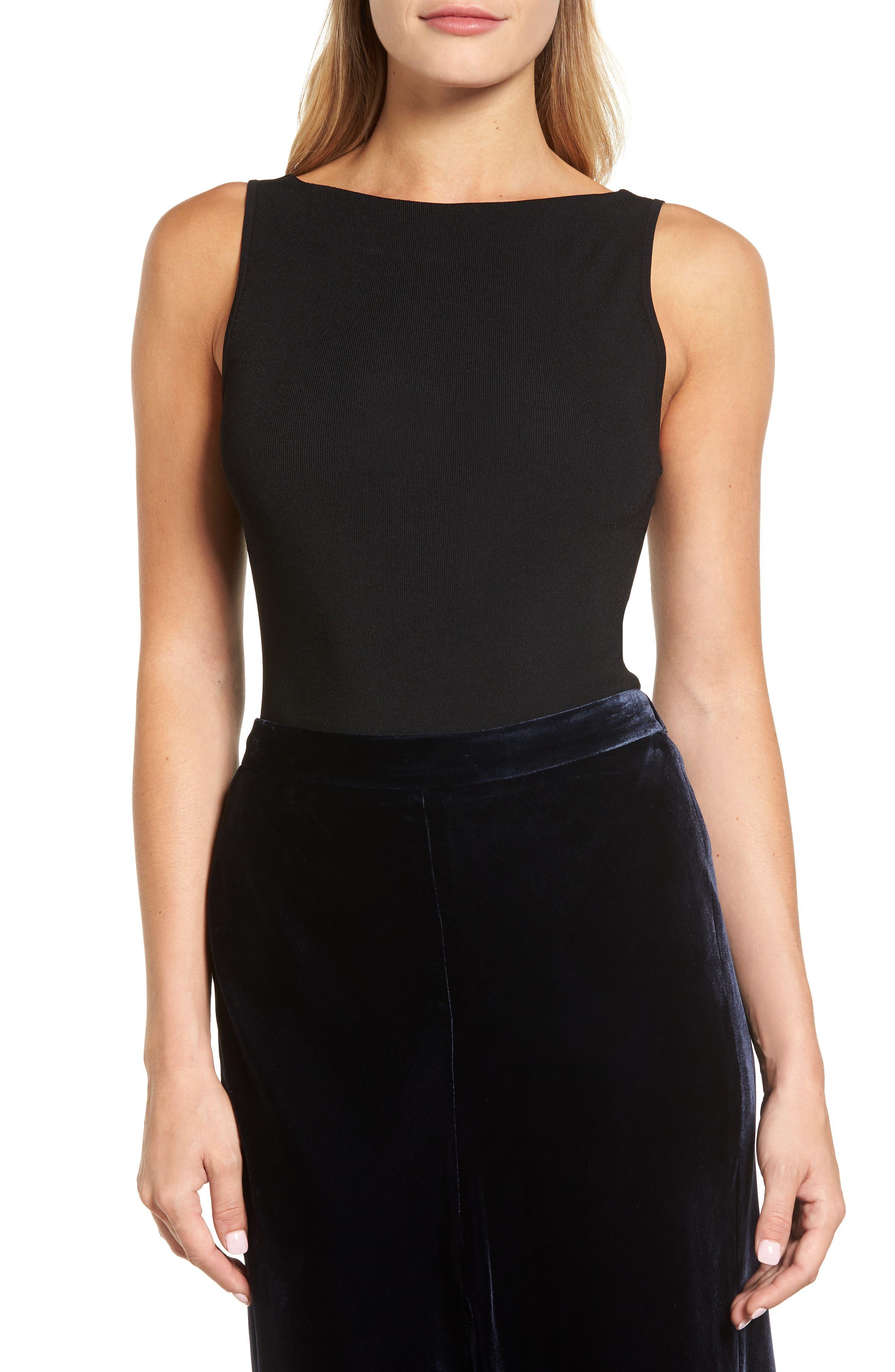 Rib Tank Bodysuit,                         Main,                         color, Black