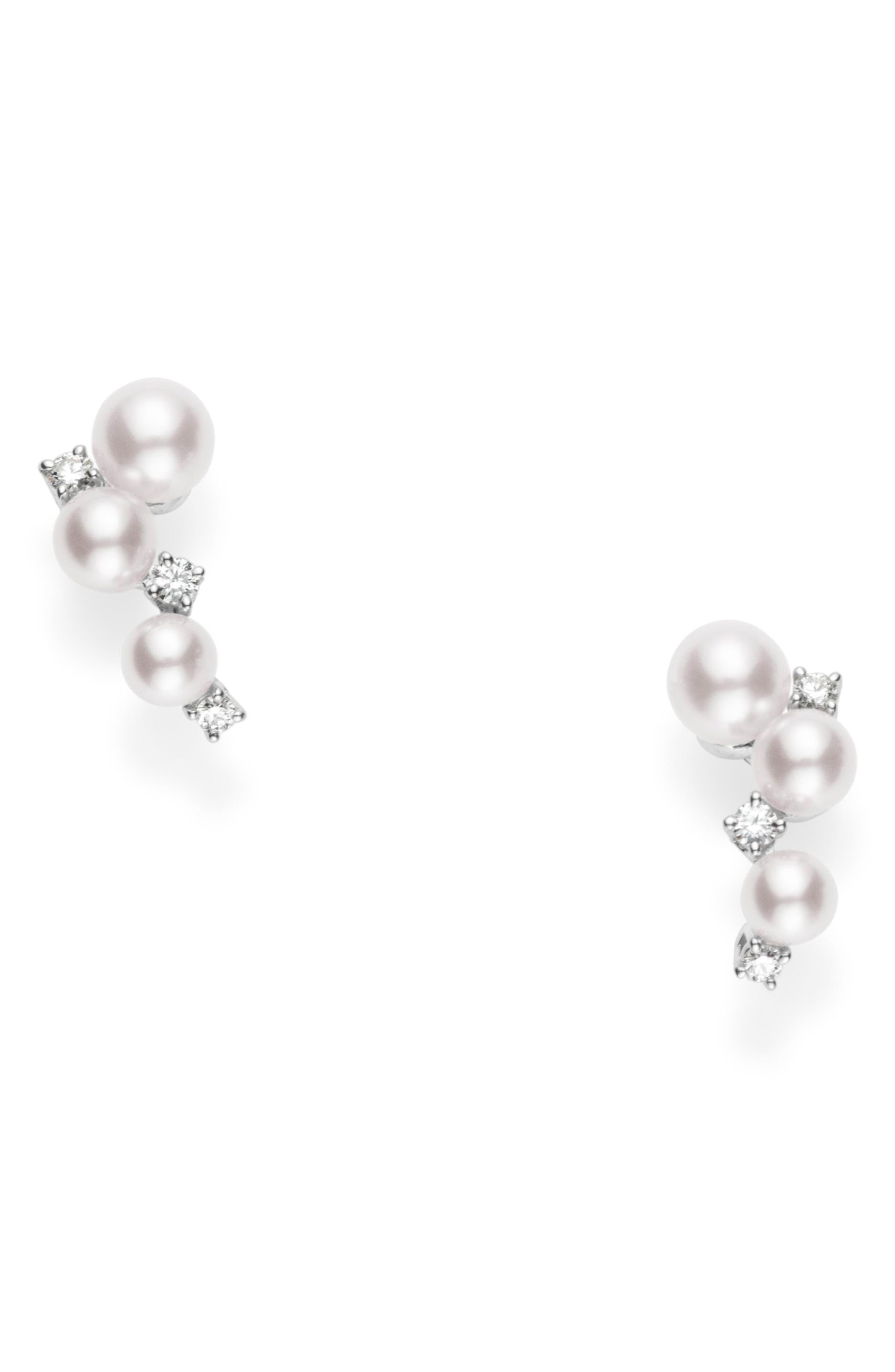 Pearl & Diamond Cluster Earrings,                             Main thumbnail 1, color,                             White Gold