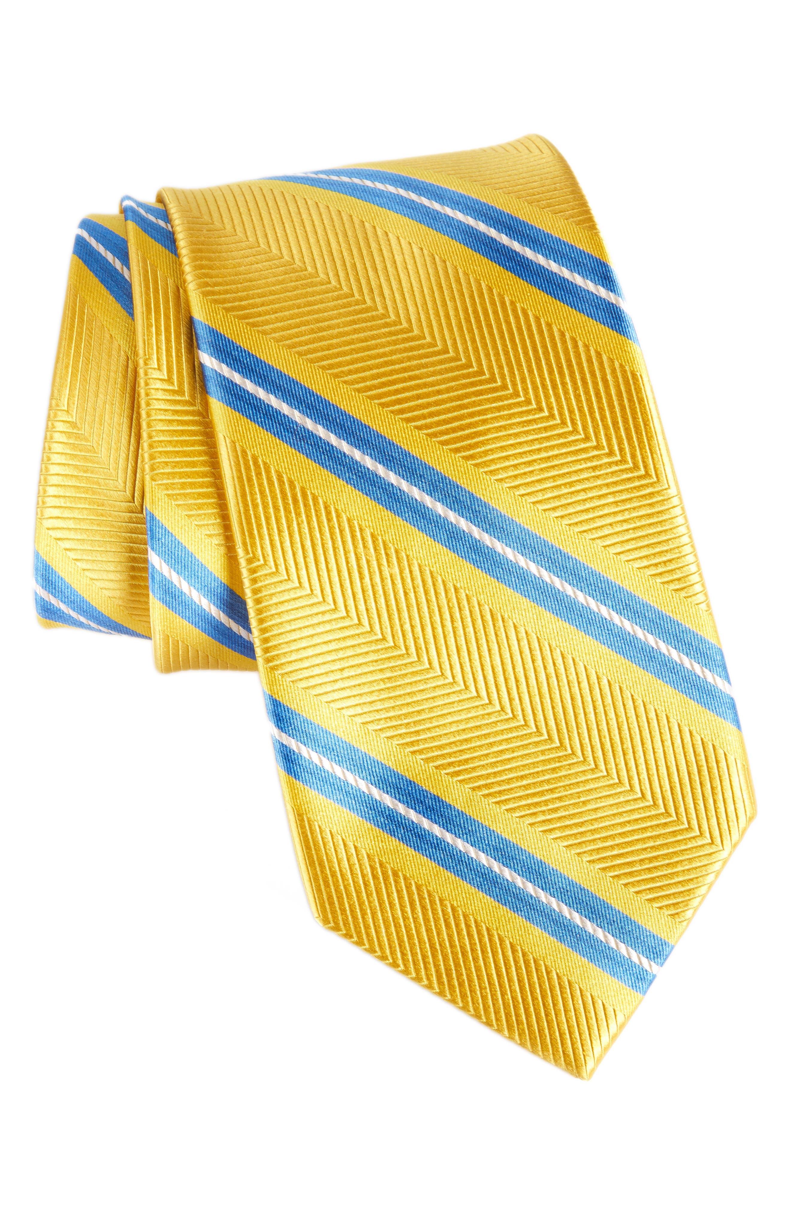 Stripe Silk Tie,                             Main thumbnail 1, color,                             Gold