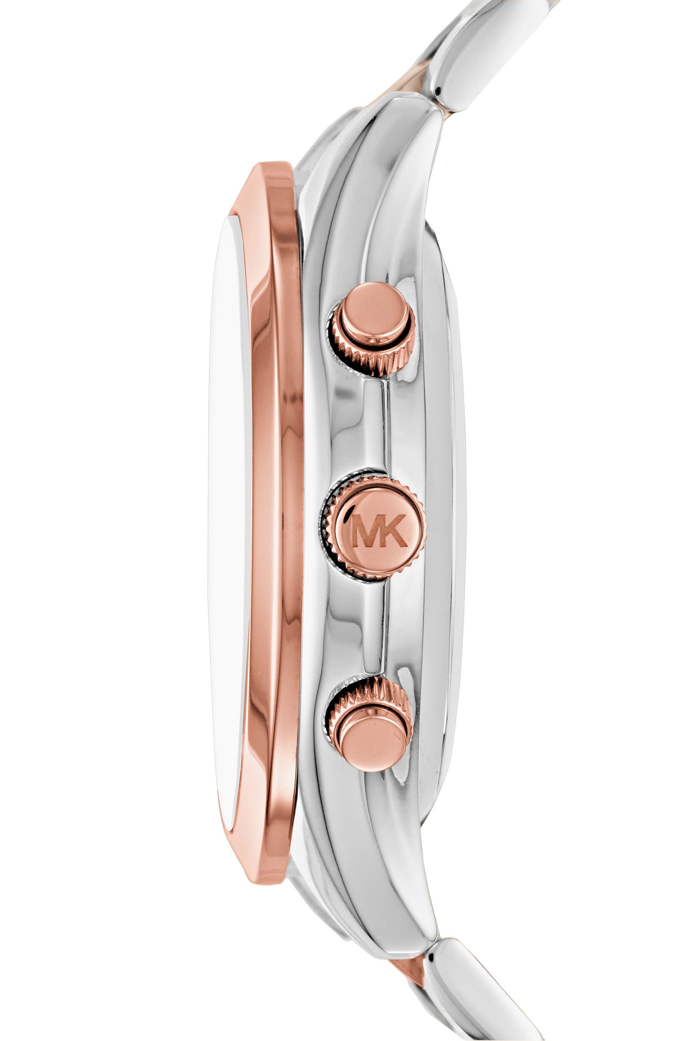 MICHAEL Michael Kors Slim Runway Smart Watch, 42mm,                             Alternate thumbnail 3, color,                             Silver/ Rose Gold