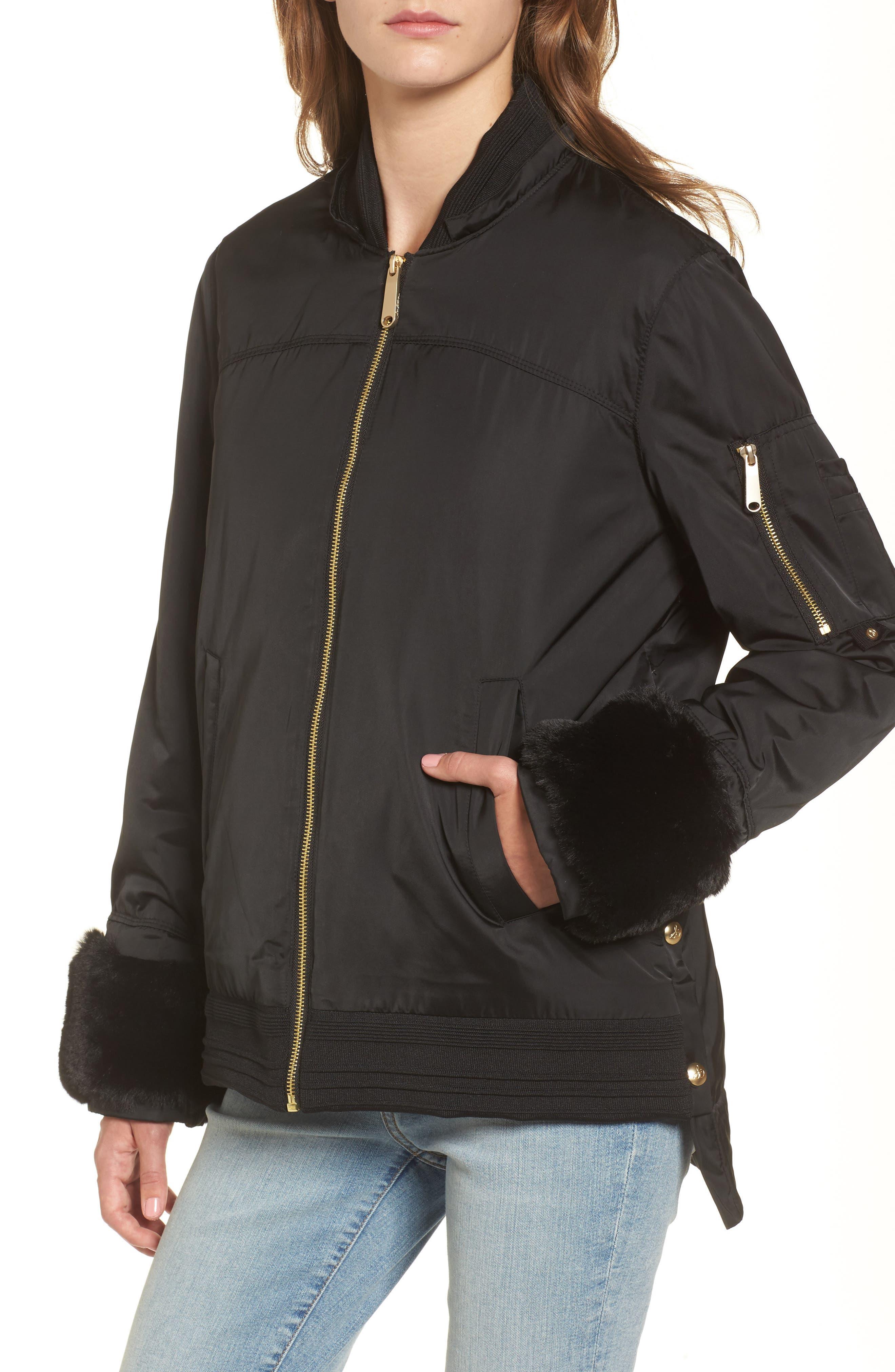 Faux Fur Trim Military Jacket,                             Alternate thumbnail 3, color,                             Black