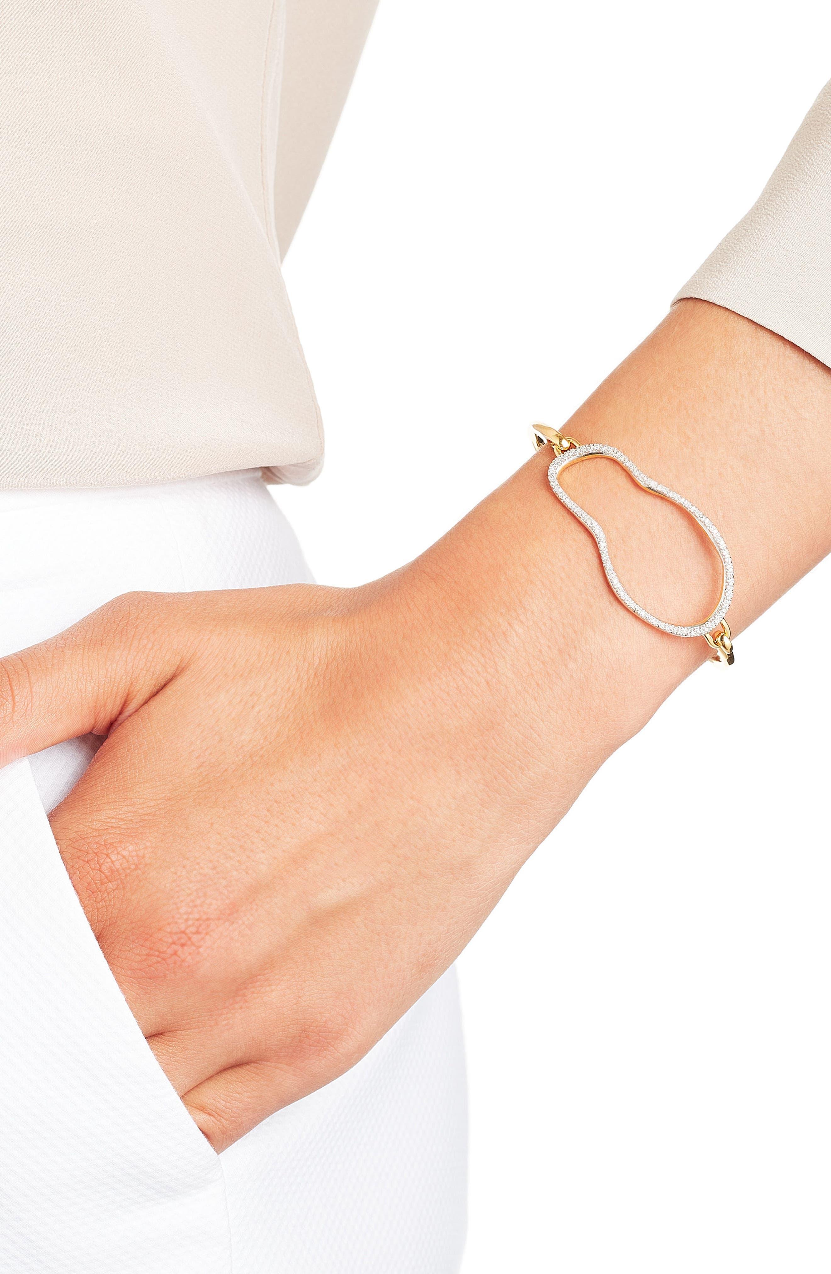Riva Diamond Hook Bracelet,                             Alternate thumbnail 4, color,                             Gold/ Diamond