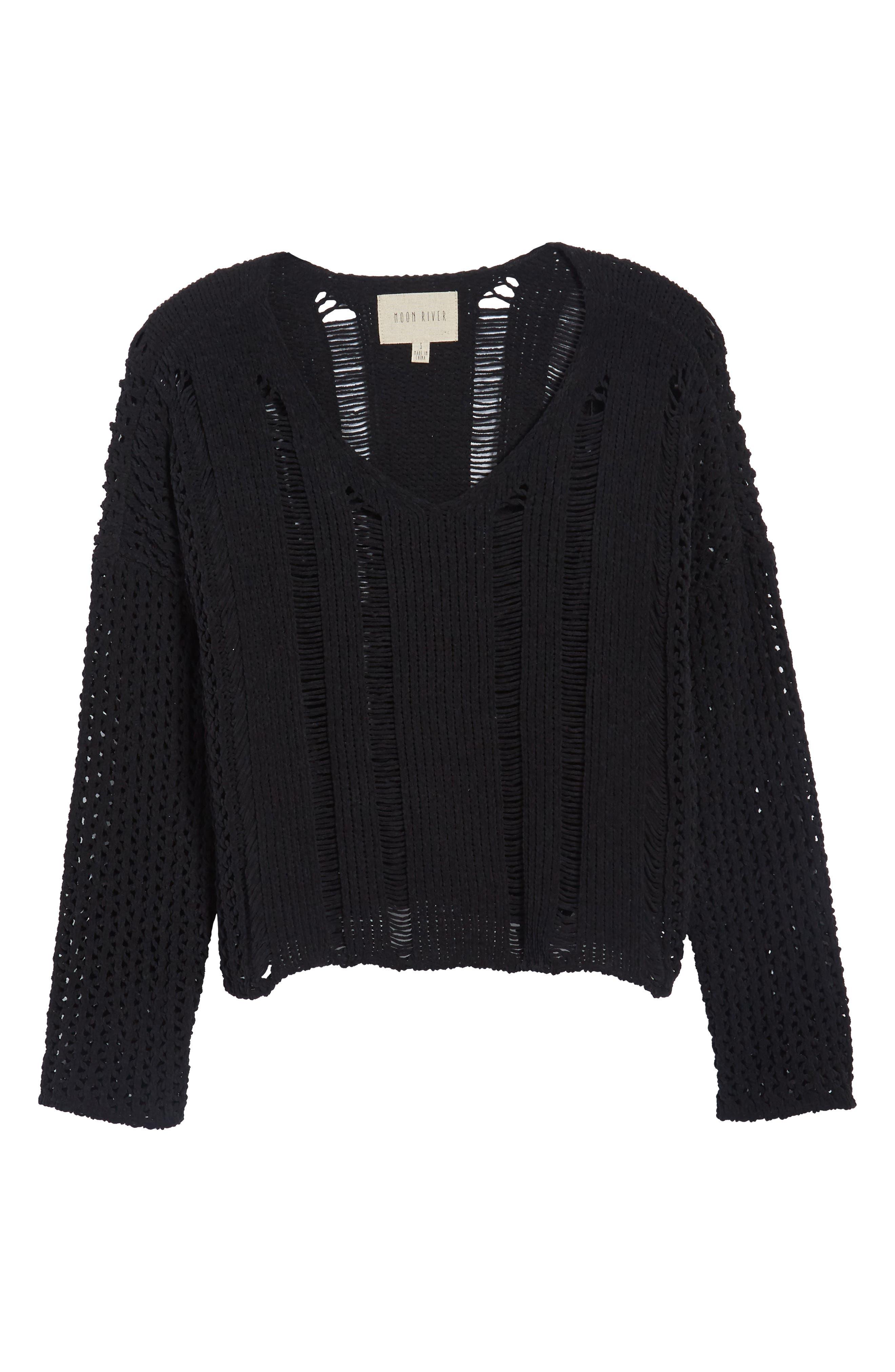 Alternate Image 7  - MOON RIVER Net Detail Sweater