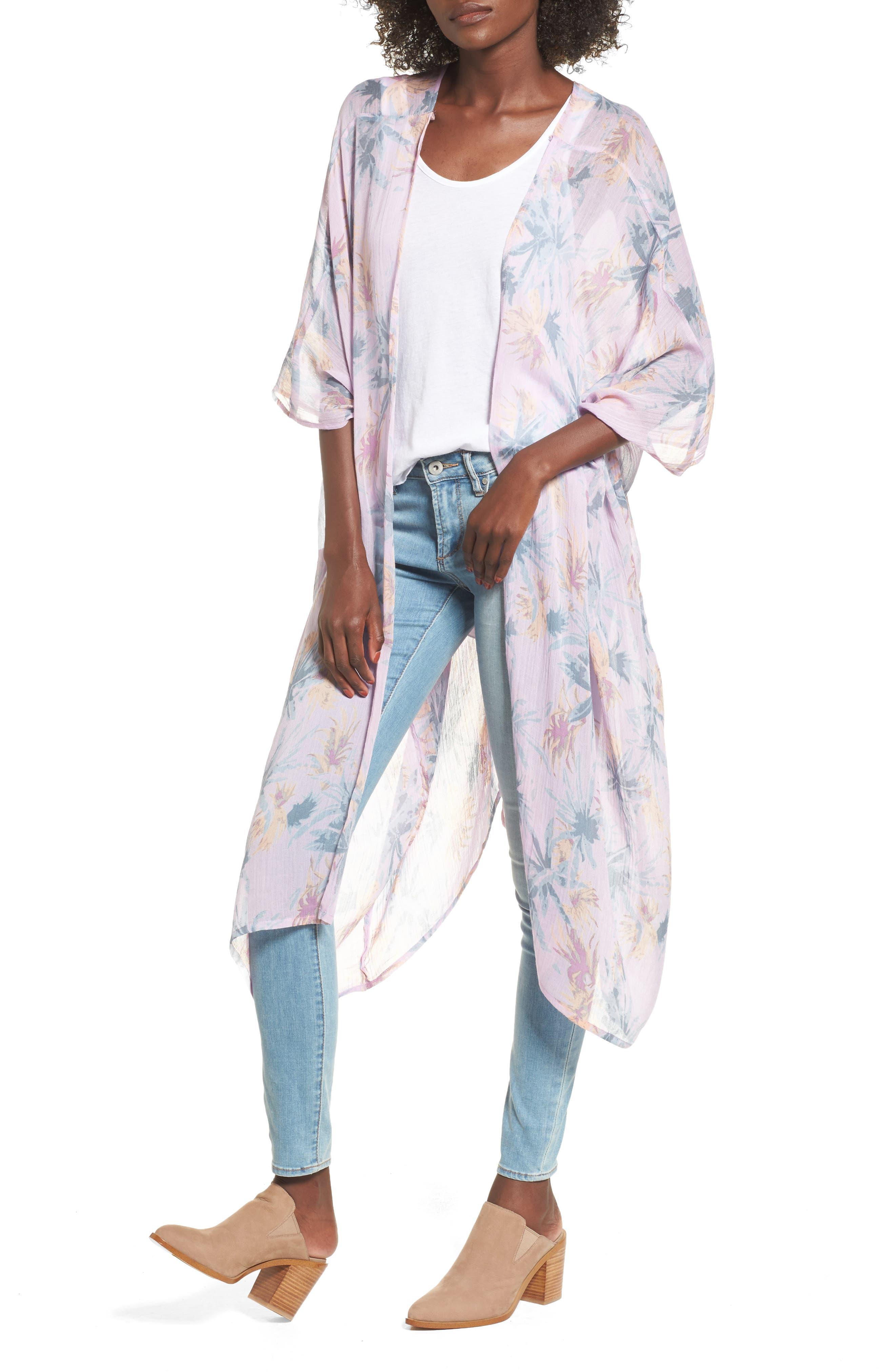 Sole Society Faded Floral Duster Kimono Scarf