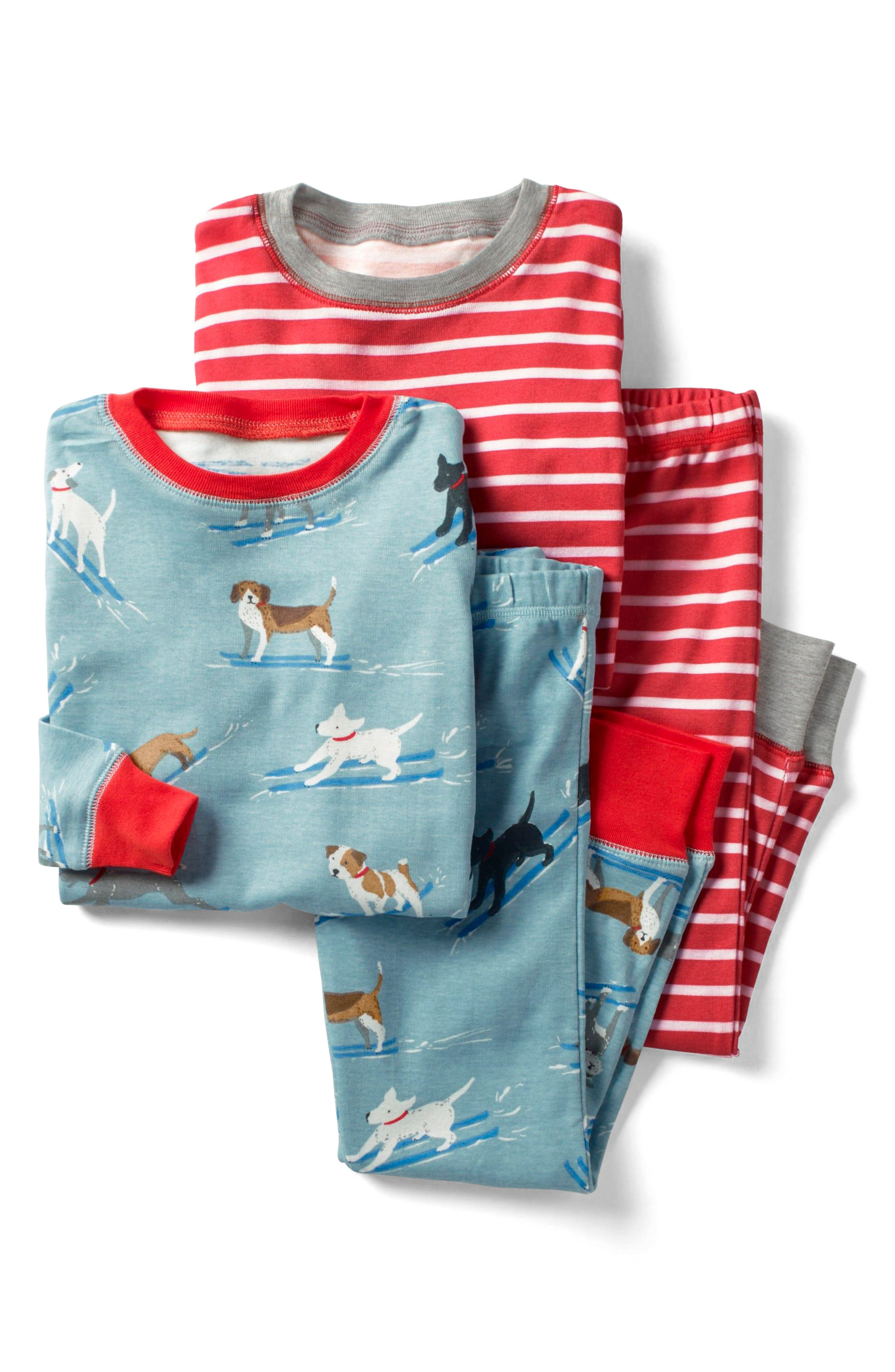 Main Image - Mini Boden Cosy 2-Pack Two-Piece Fitted Pajamas (Toddler Boys, Little Boys & Big Boys)