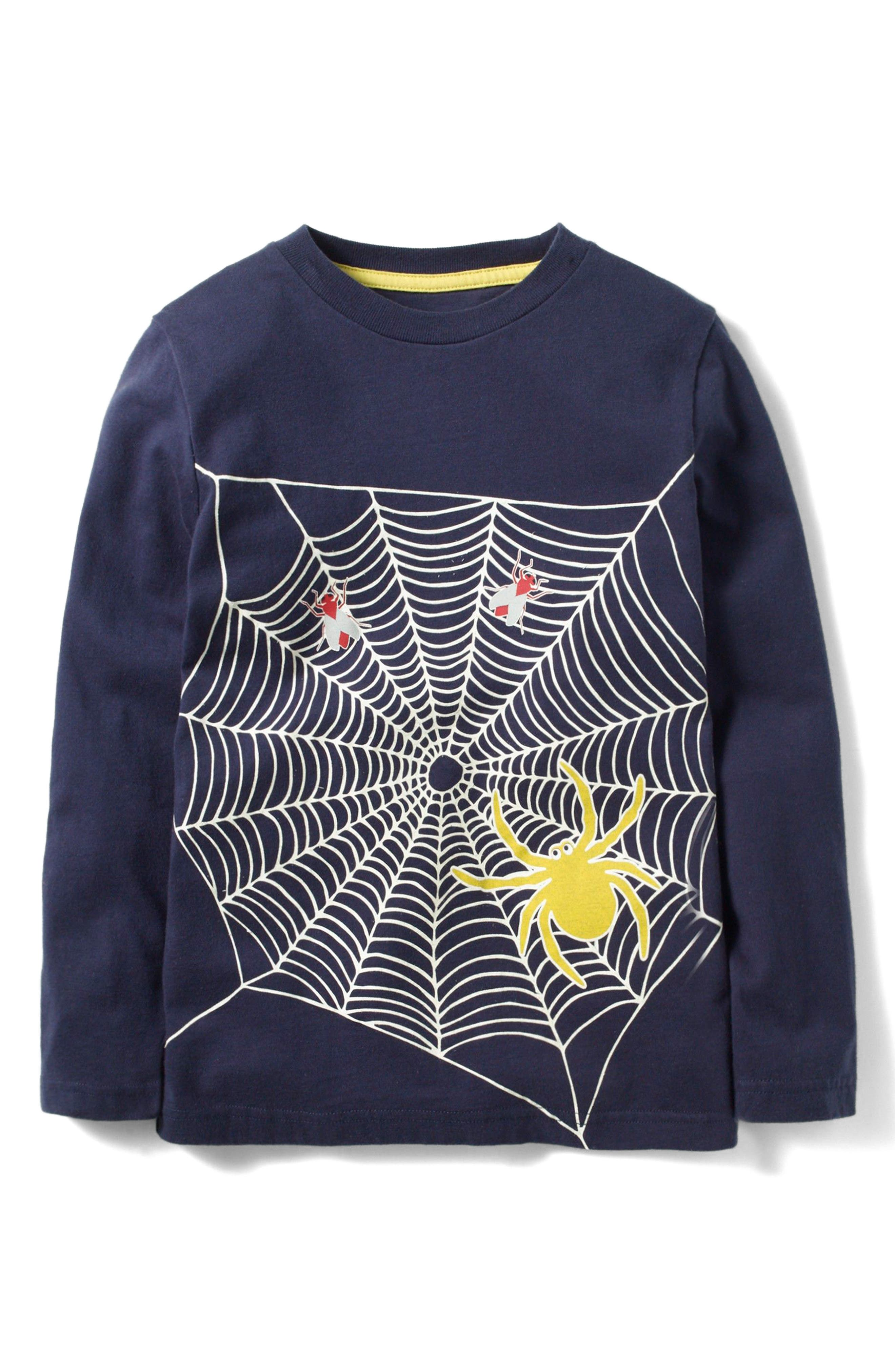 Spooky Glow T-Shirt,                         Main,                         color, Navy Spider