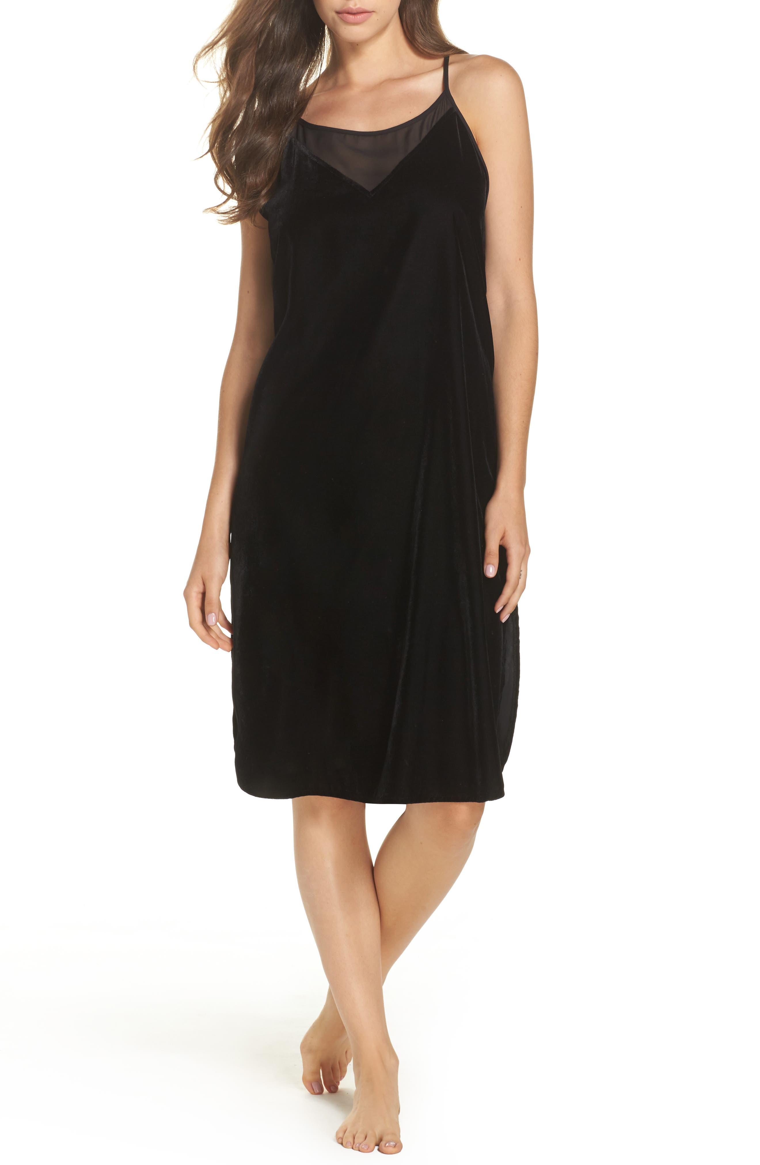 Velvet Chemise,                             Main thumbnail 1, color,                             Black