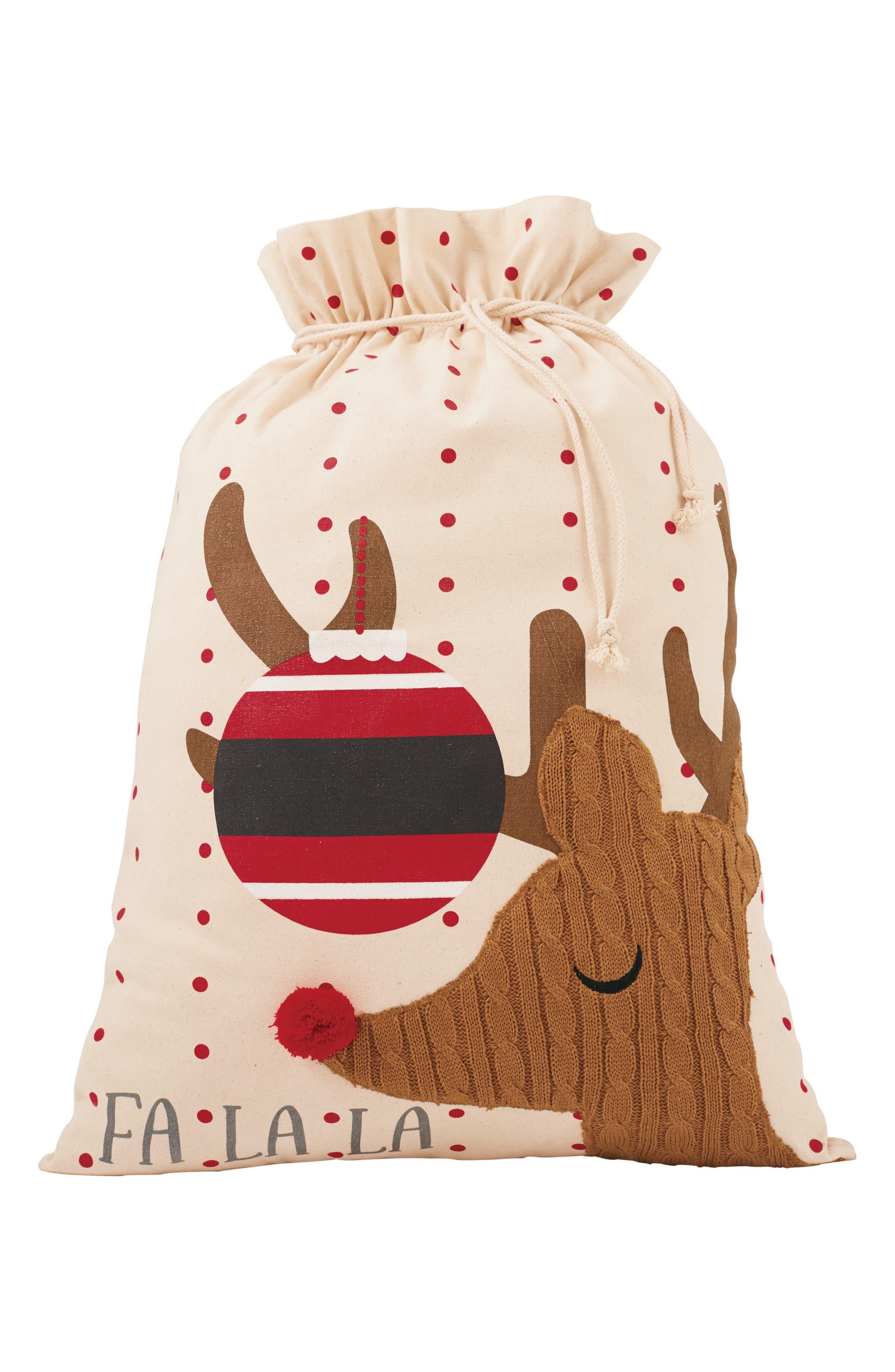 Fa La La Reindeer Canvas Gift Sack,                         Main,                         color, Tan