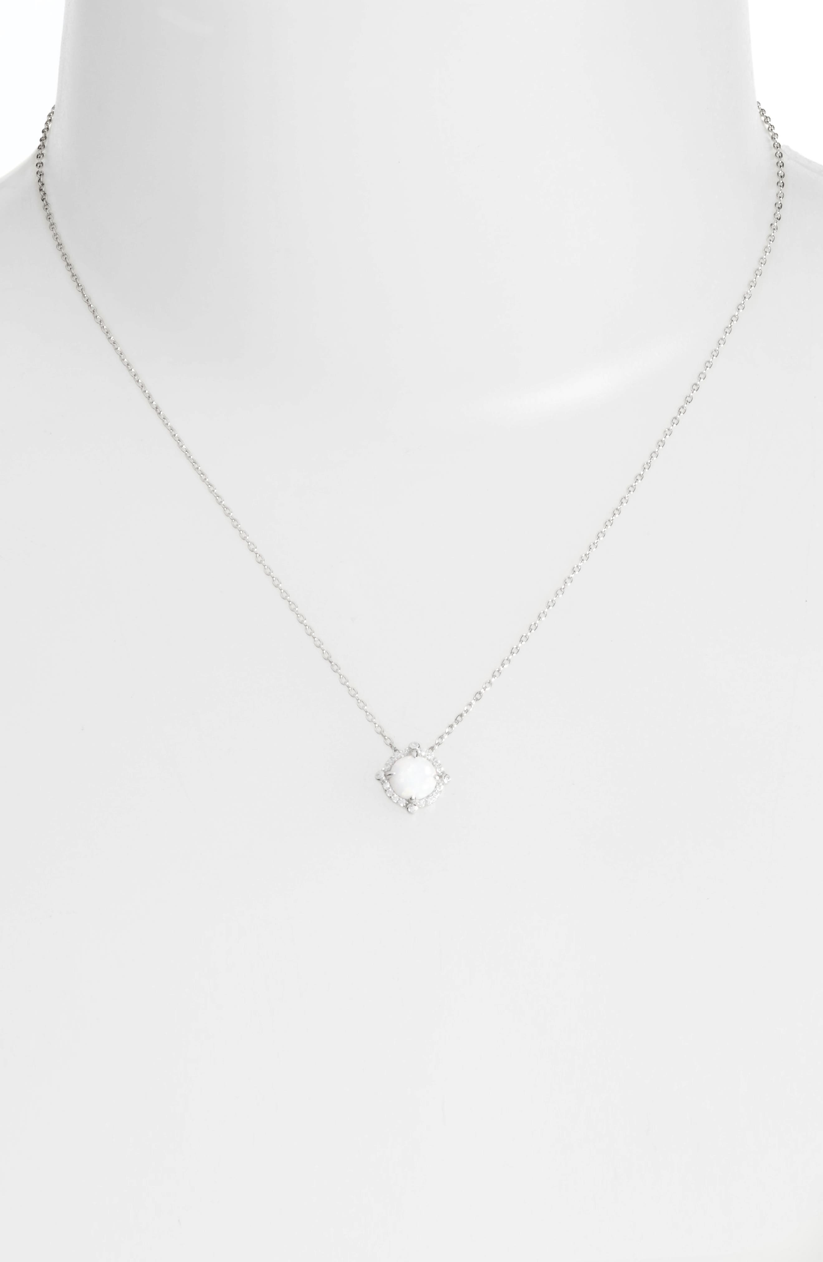 Simulated Diamond & Opal Necklace,                             Alternate thumbnail 2, color,                             Silver/ Opal/ Clear