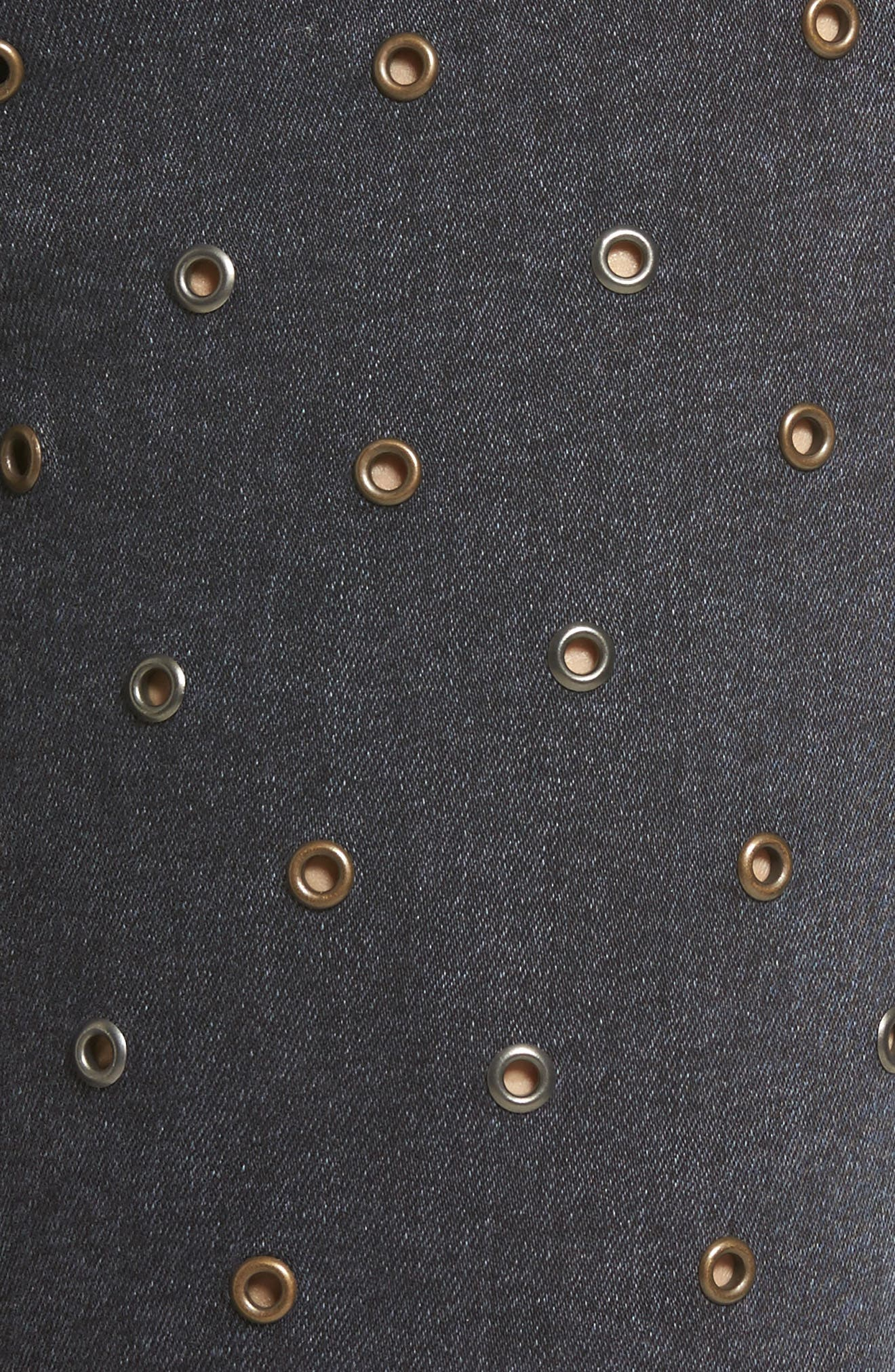 Jamie Grommet Ankle Skinny Jeans,                             Alternate thumbnail 6, color,                             Washed Black