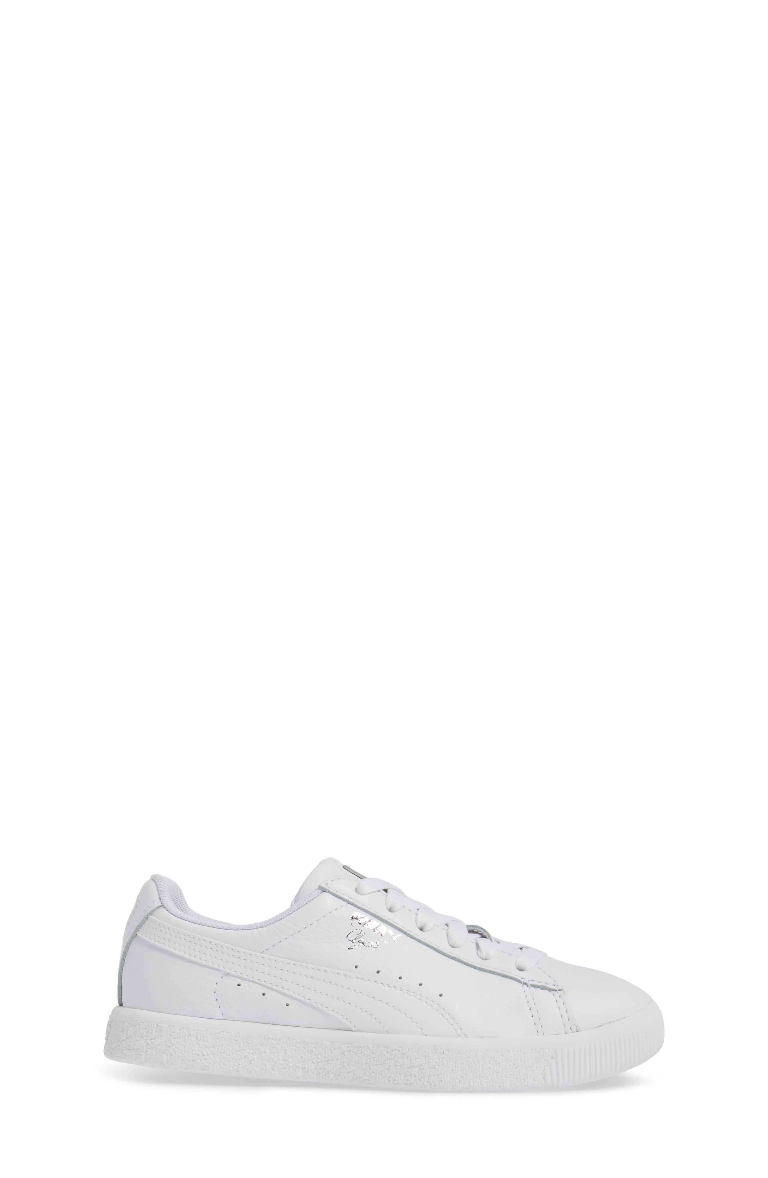 Clyde Core Foil Sneaker,                             Alternate thumbnail 3, color,                             White/ White