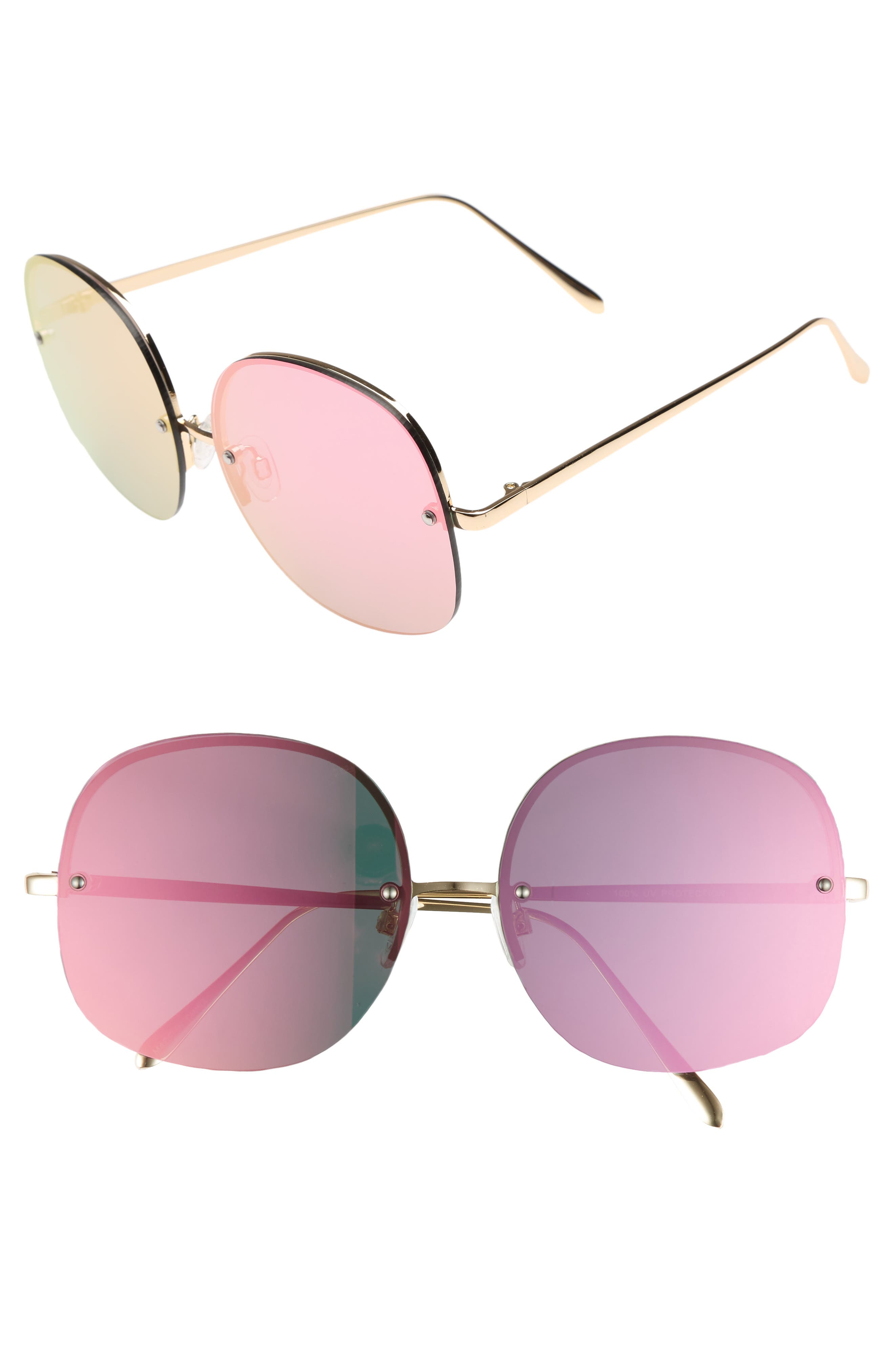 Leith 62mm Mirror Lens Rimless Sunglasses