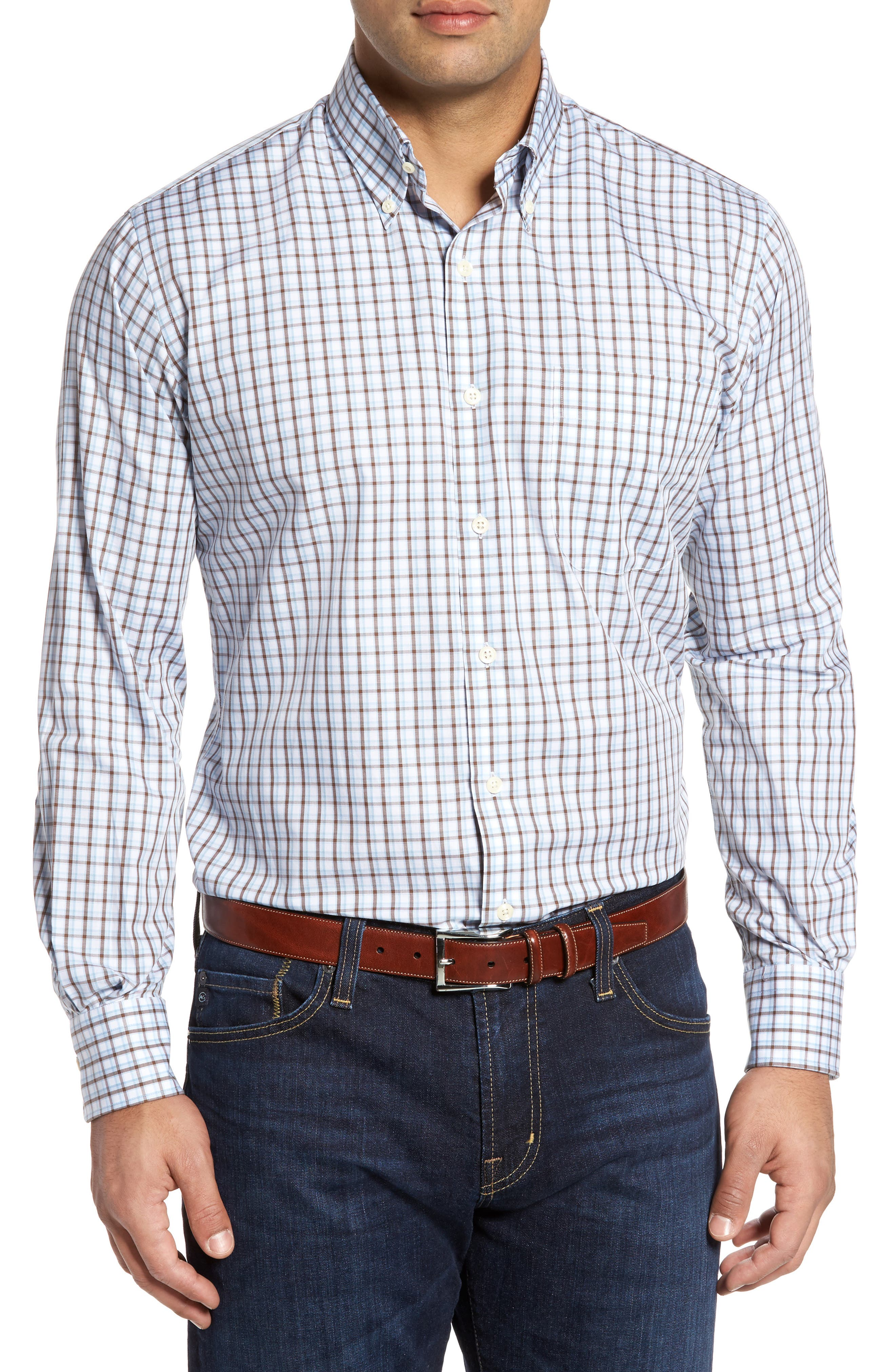 Regular Fit Crisp Pane Sport Shirt,                         Main,                         color, Branch