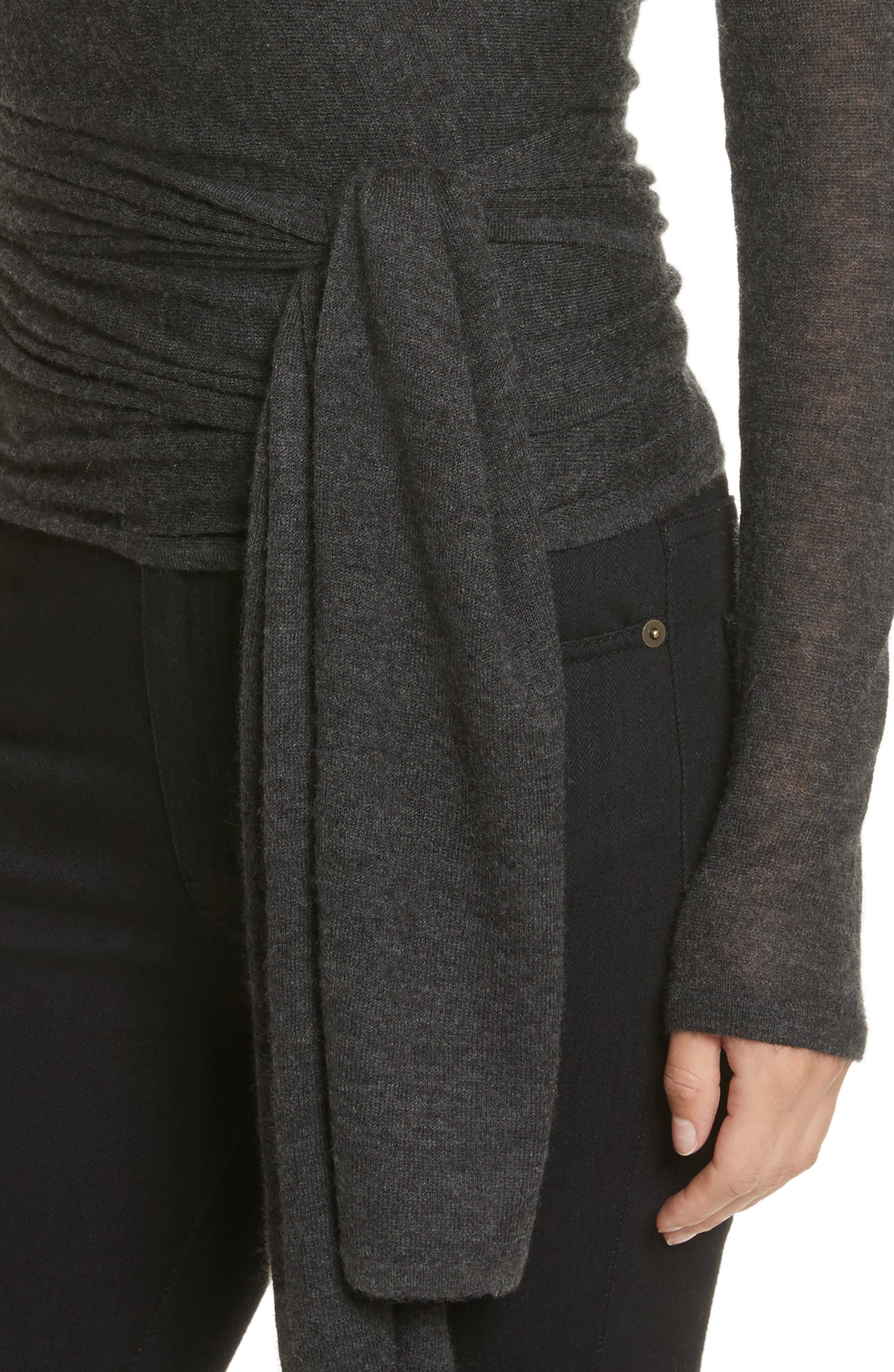 Cashmere Wrap Ballet Sweater,                             Alternate thumbnail 4, color,                             Charcoal