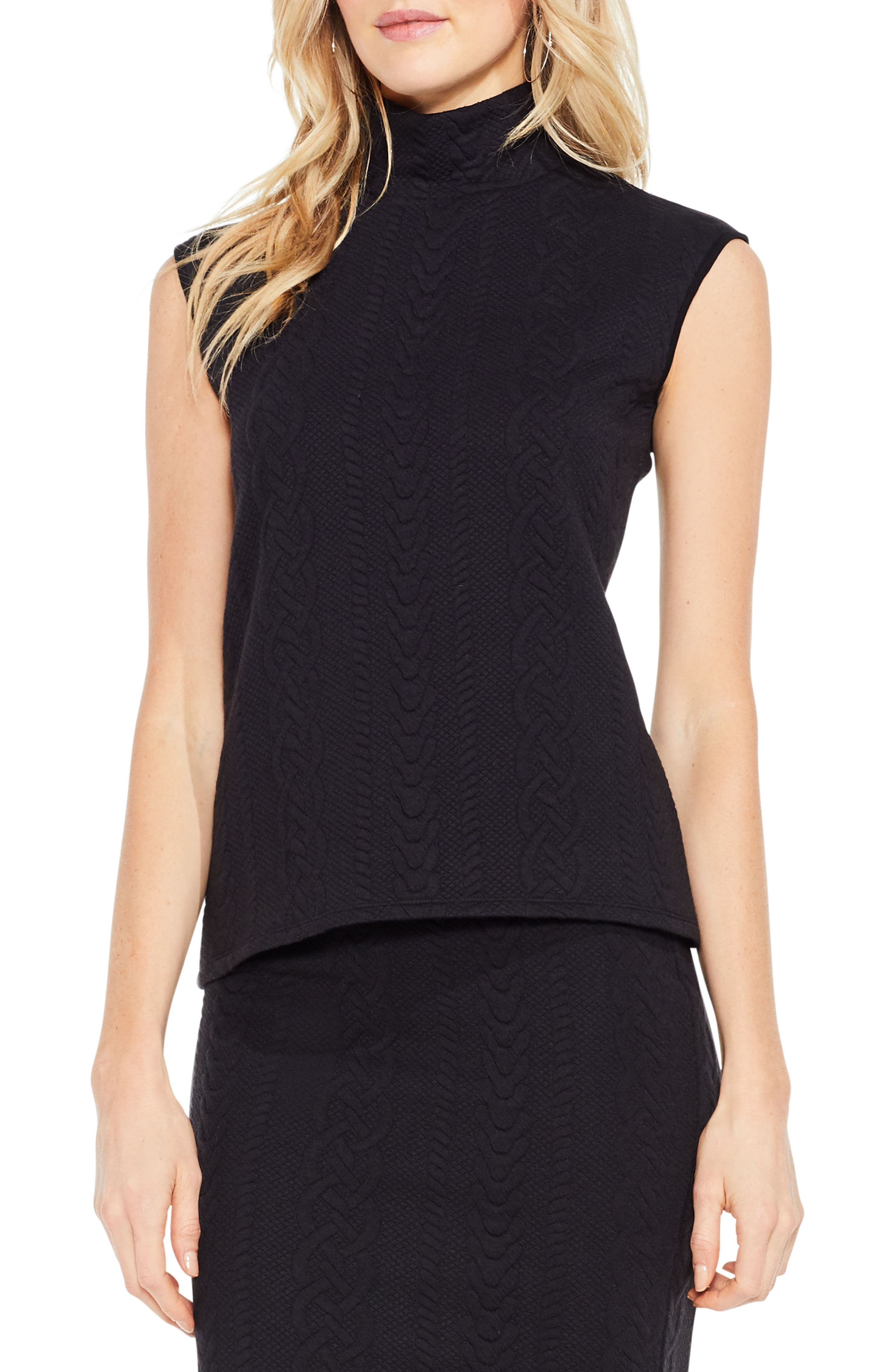 Main Image - Vince Camuto Cable Knit Turtleneck Top
