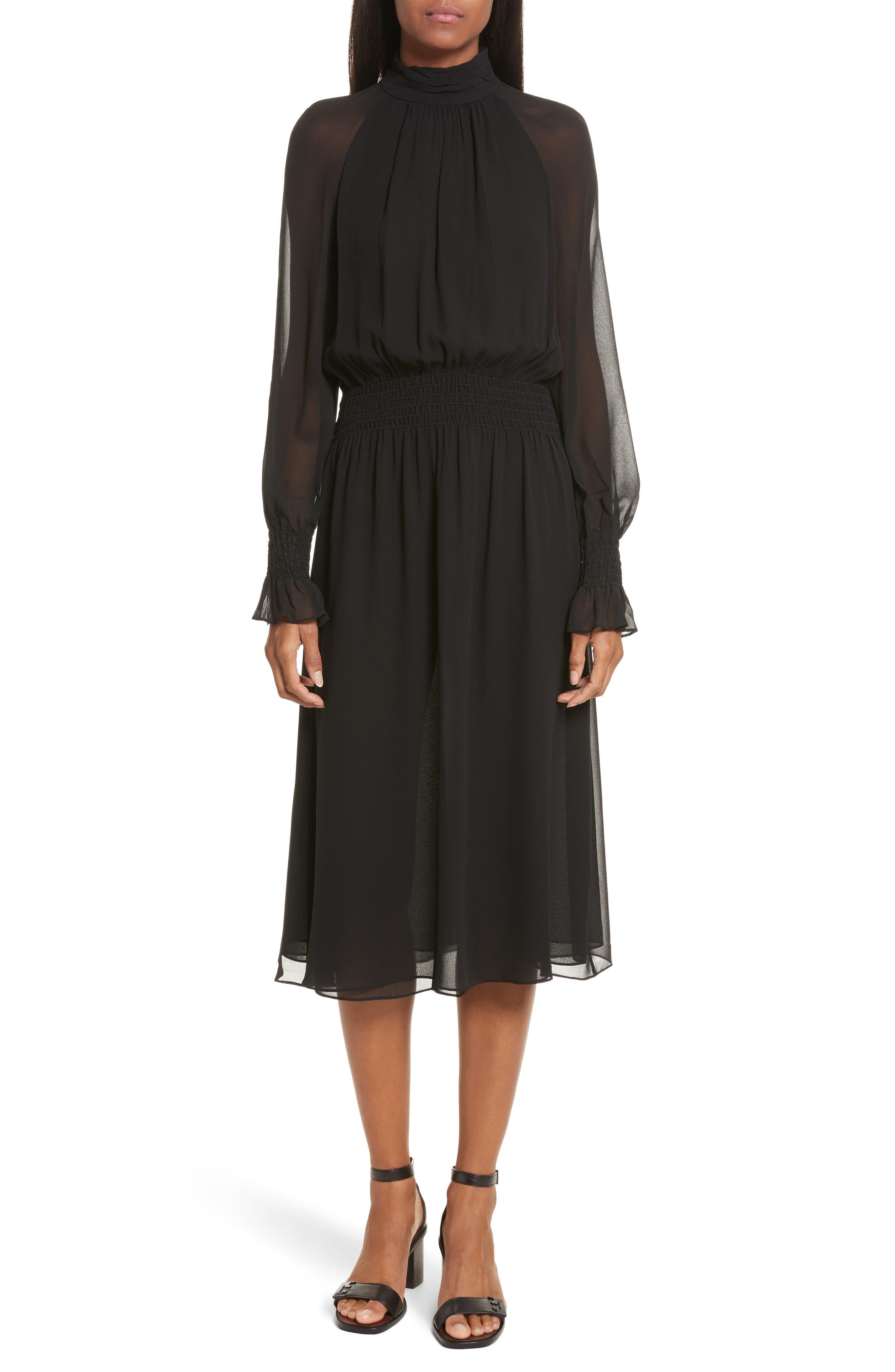Collette Silk Midi Dress,                         Main,                         color, Black