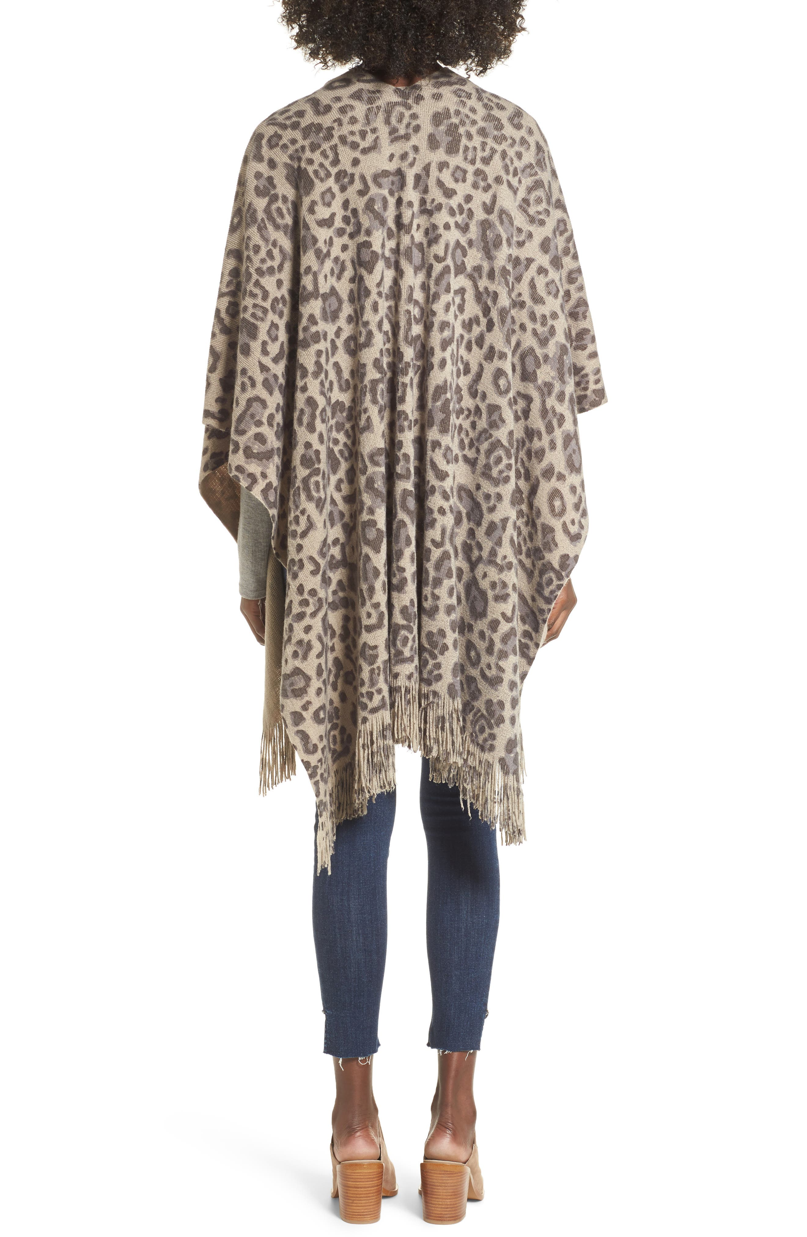 Alternate Image 2  - Sole Society Leopard Print Fringe Wrap