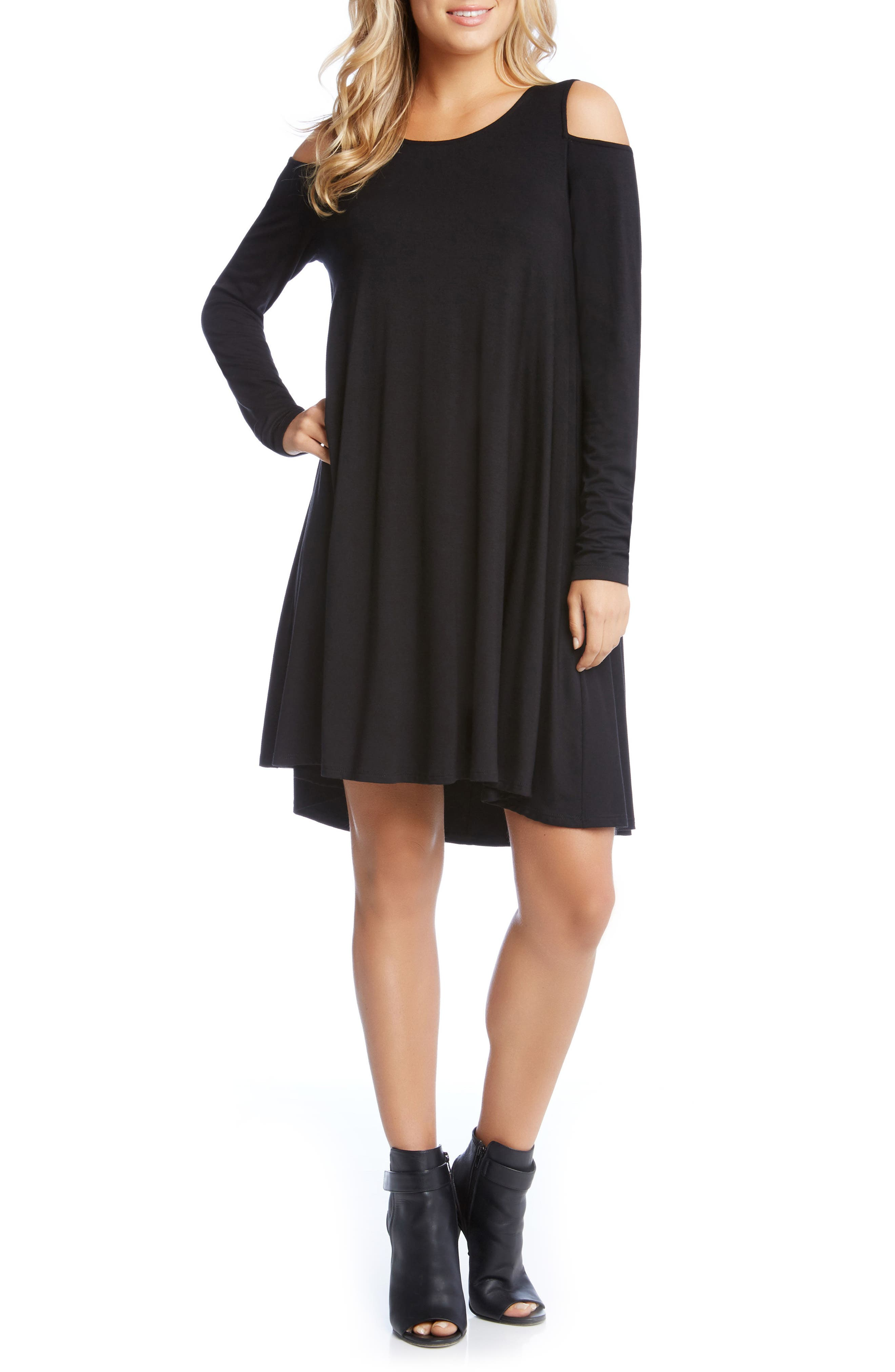 Maggie Cold Shoulder Trapeze Dress,                         Main,                         color, Black