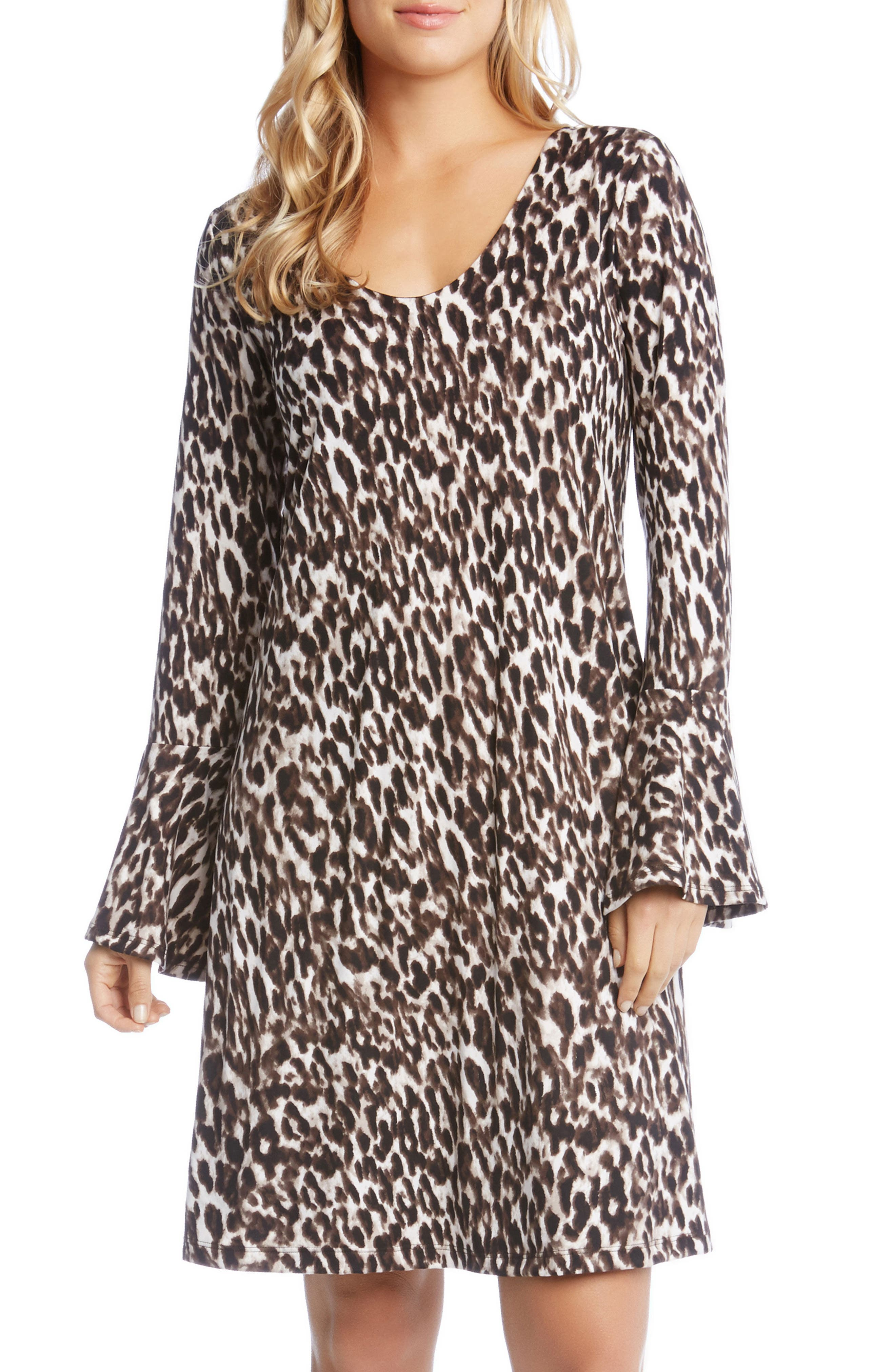 Bell Sleeve Brushed Knit Dress,                             Main thumbnail 1, color,                             Leopard