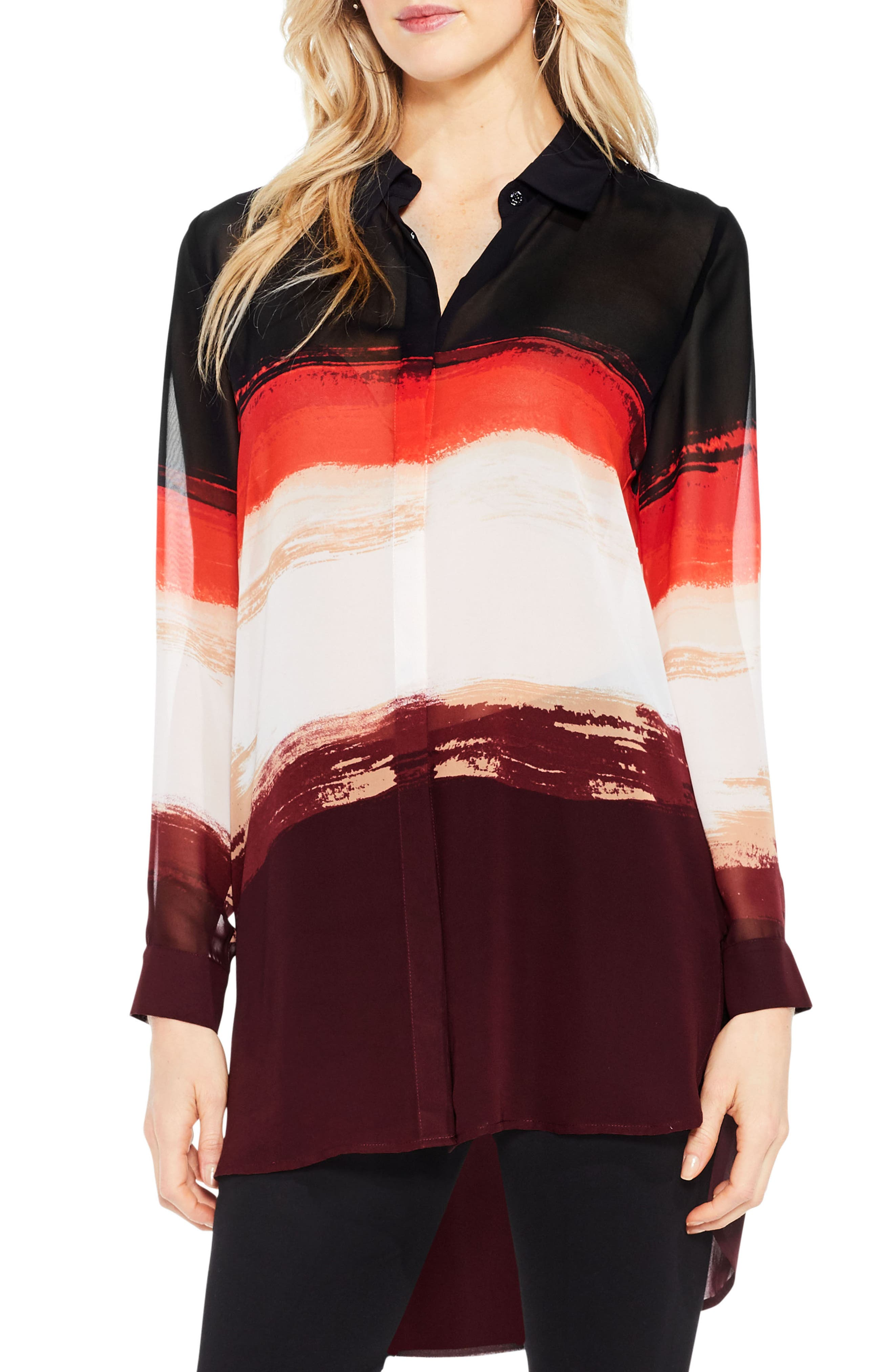 Brushstroke Horizons Tunic Shirt,                         Main,                         color, Deep Claret