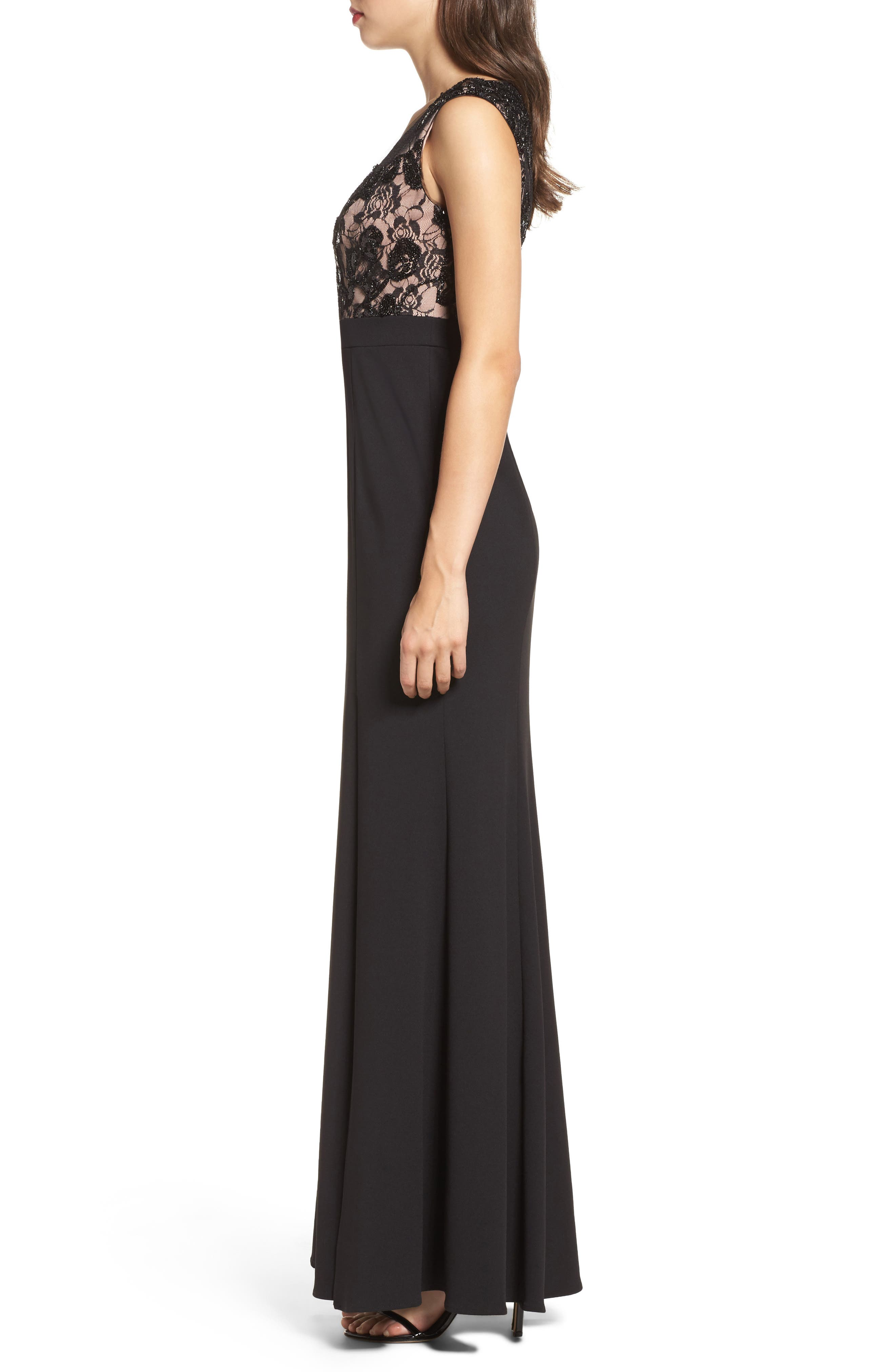 Lace Bodice Mermaid Gown,                             Alternate thumbnail 3, color,                             Black Nude