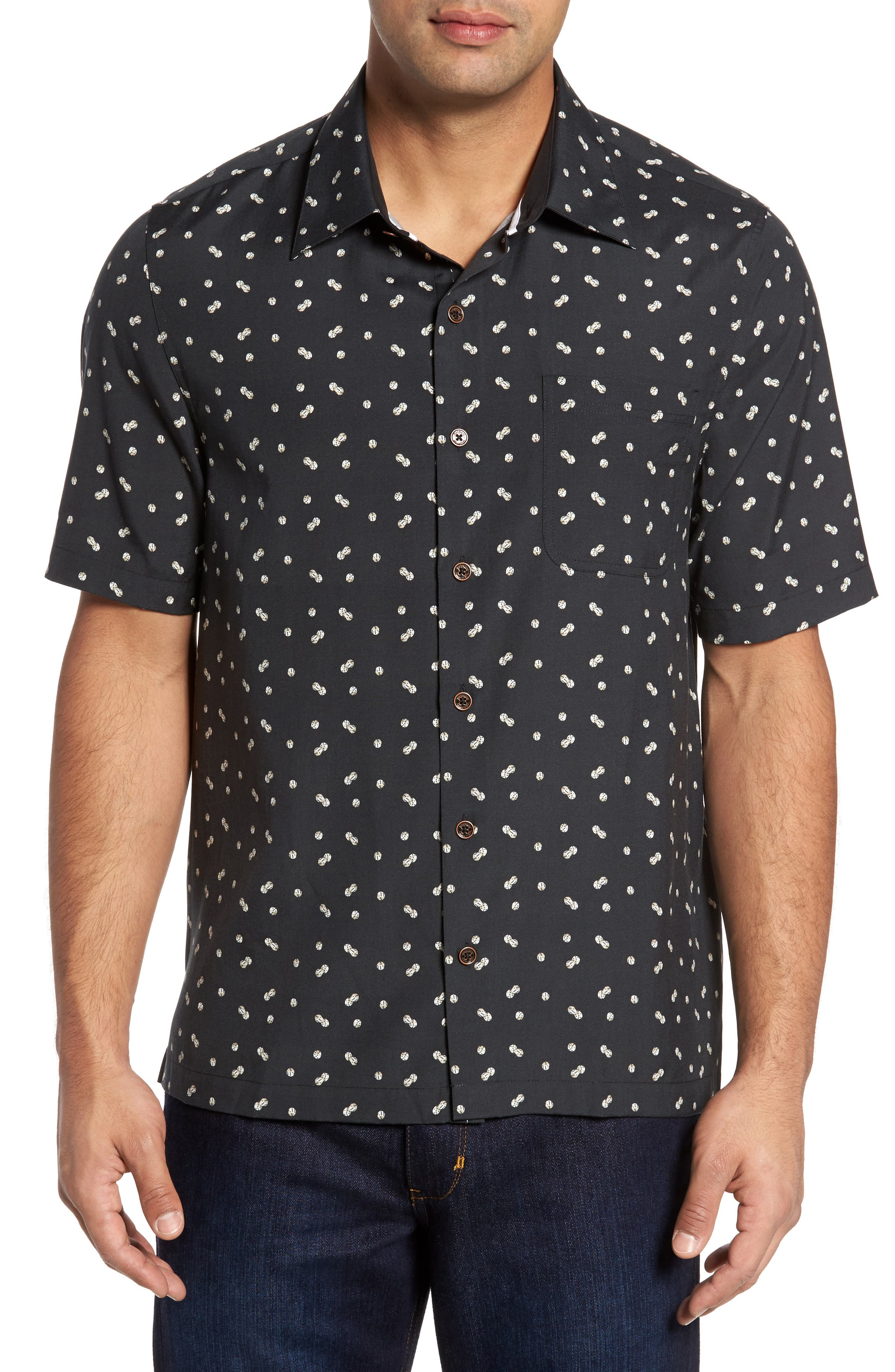 Dice Print Classic Fit Camp Shirt,                             Main thumbnail 1, color,                             Black