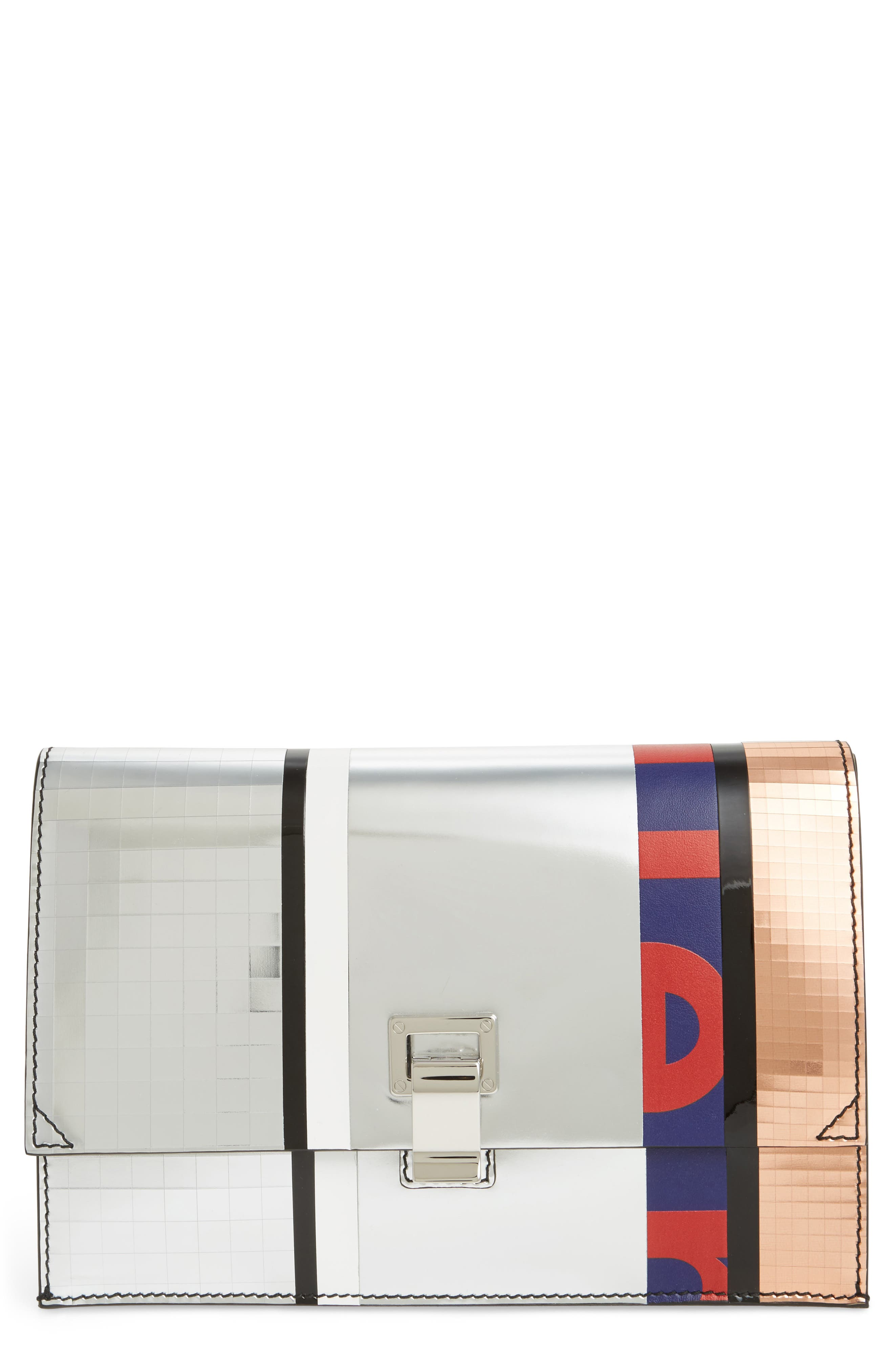 Proenza Schouler Small Metallic Leather Lunch Bag Clutch