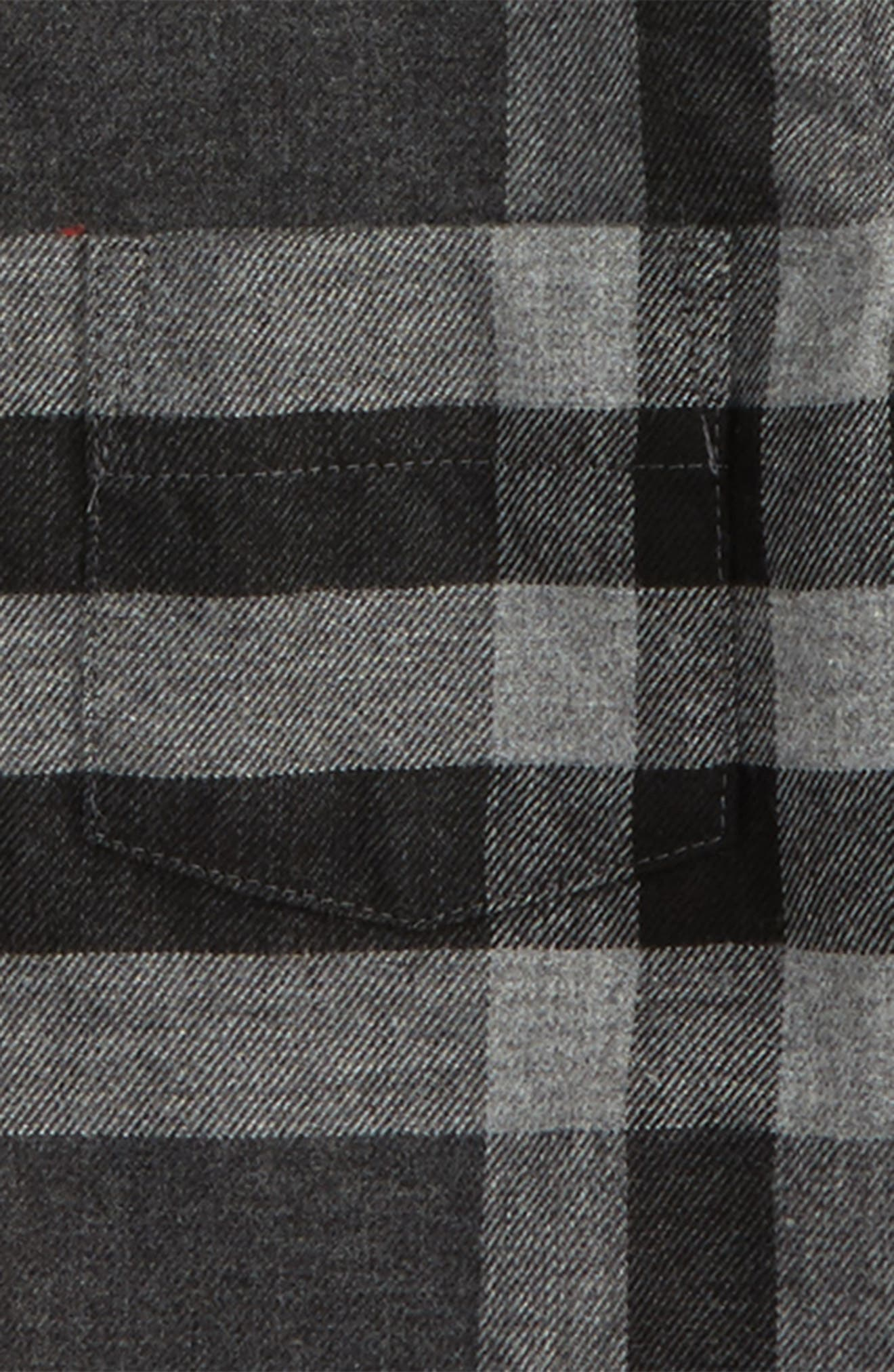 Mini Fred Plaid Shirt,                             Alternate thumbnail 2, color,                             Dark Grey Melange