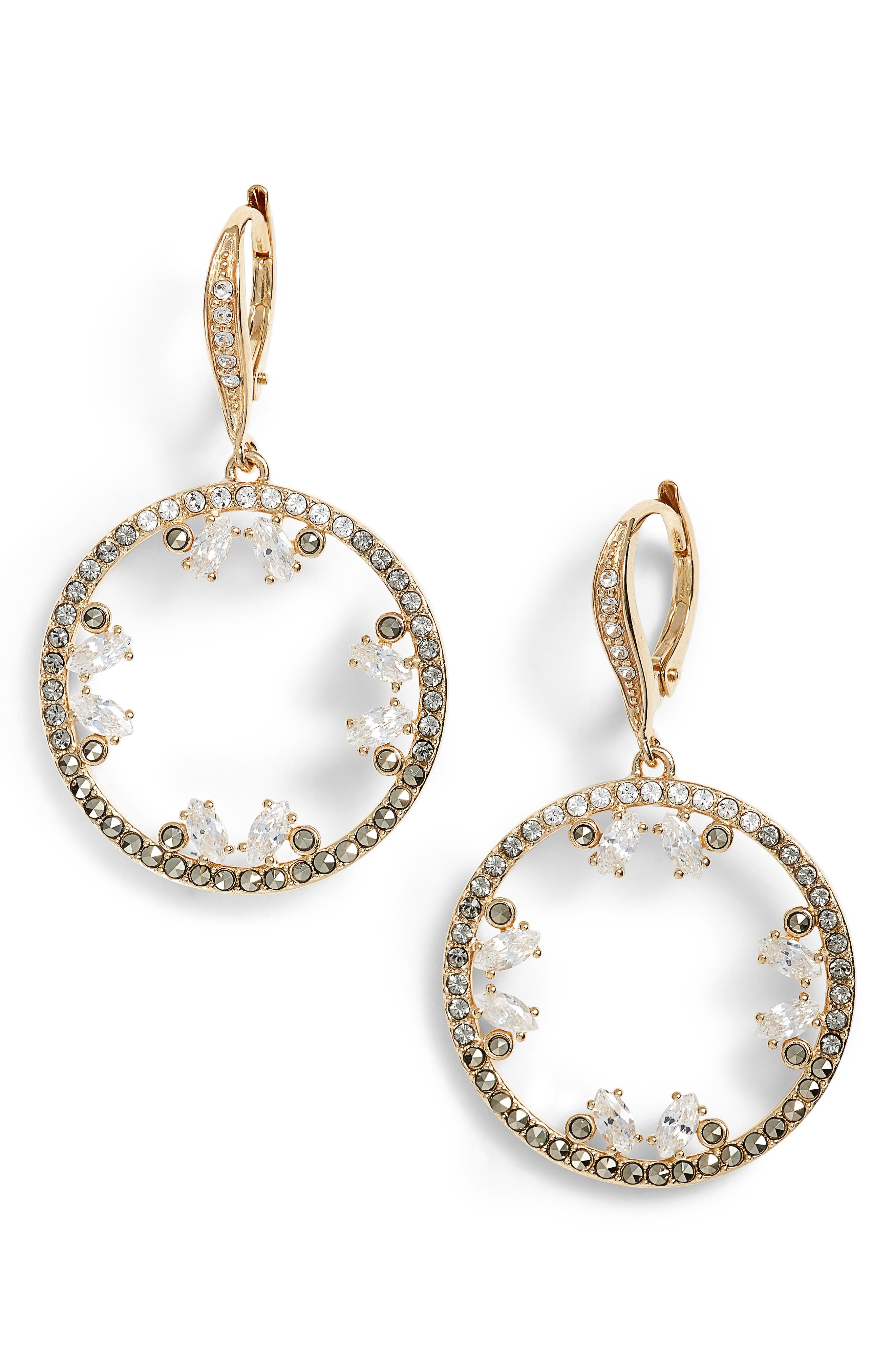 Doublet Cubic Zirconia Drop Earrings,                         Main,                         color, Gold