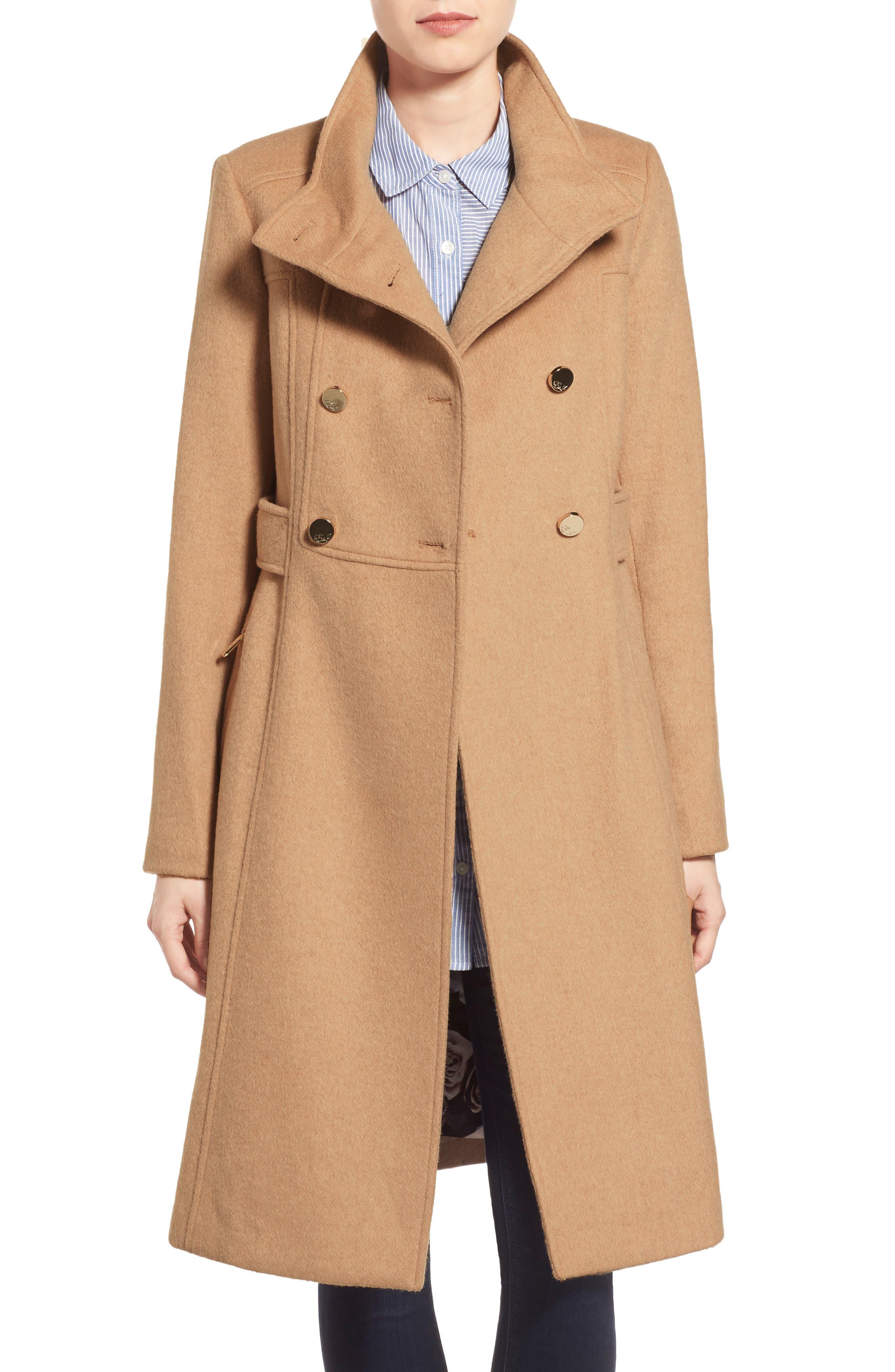 Wool Blend Long Military Coat,                             Main thumbnail 1, color,                             Camel