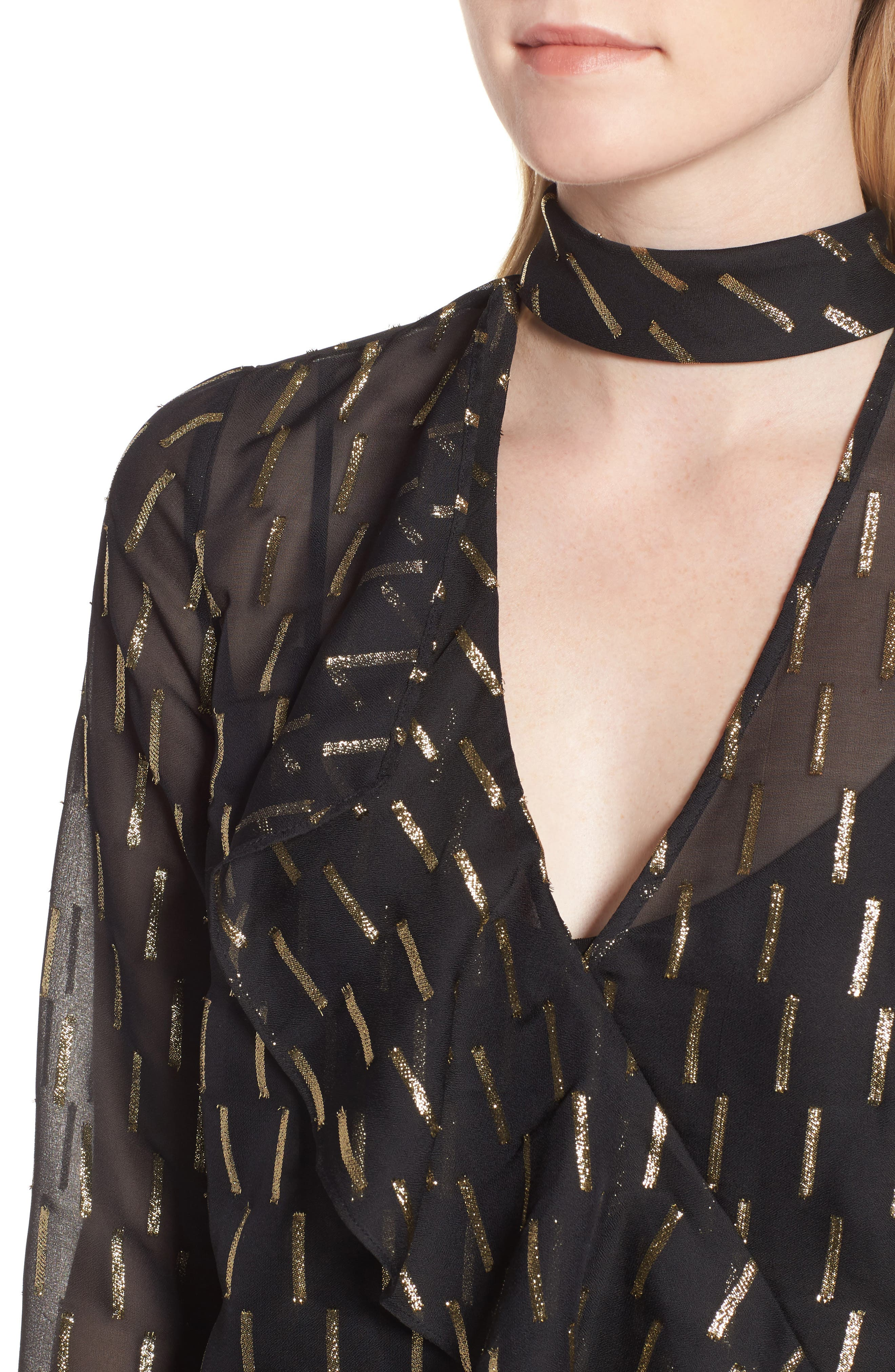 Alternate Image 4  - Trouvé Metallic Stripe Choker Top