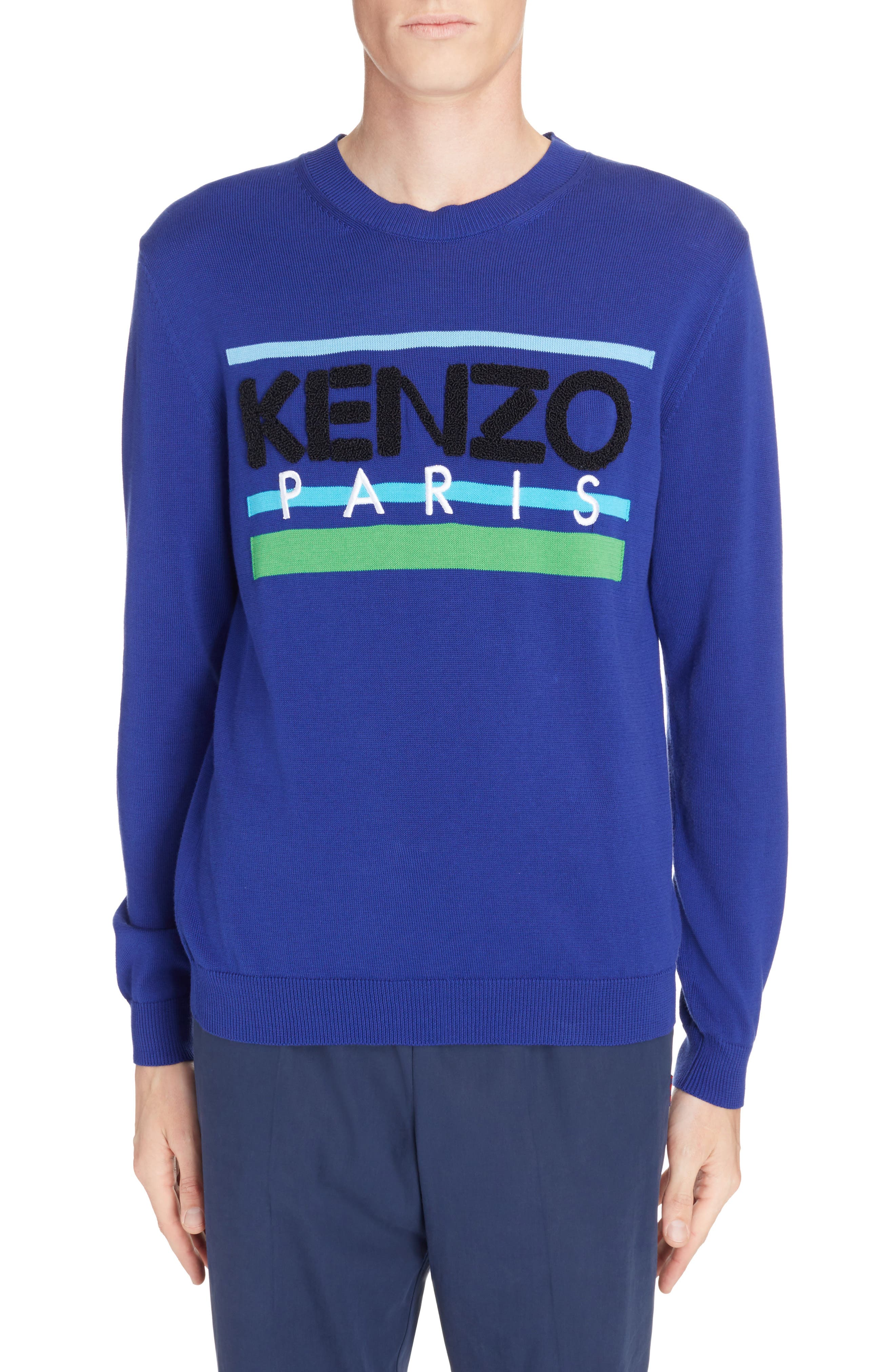 Logo Stripe Sweater,                             Main thumbnail 1, color,                             French Blue