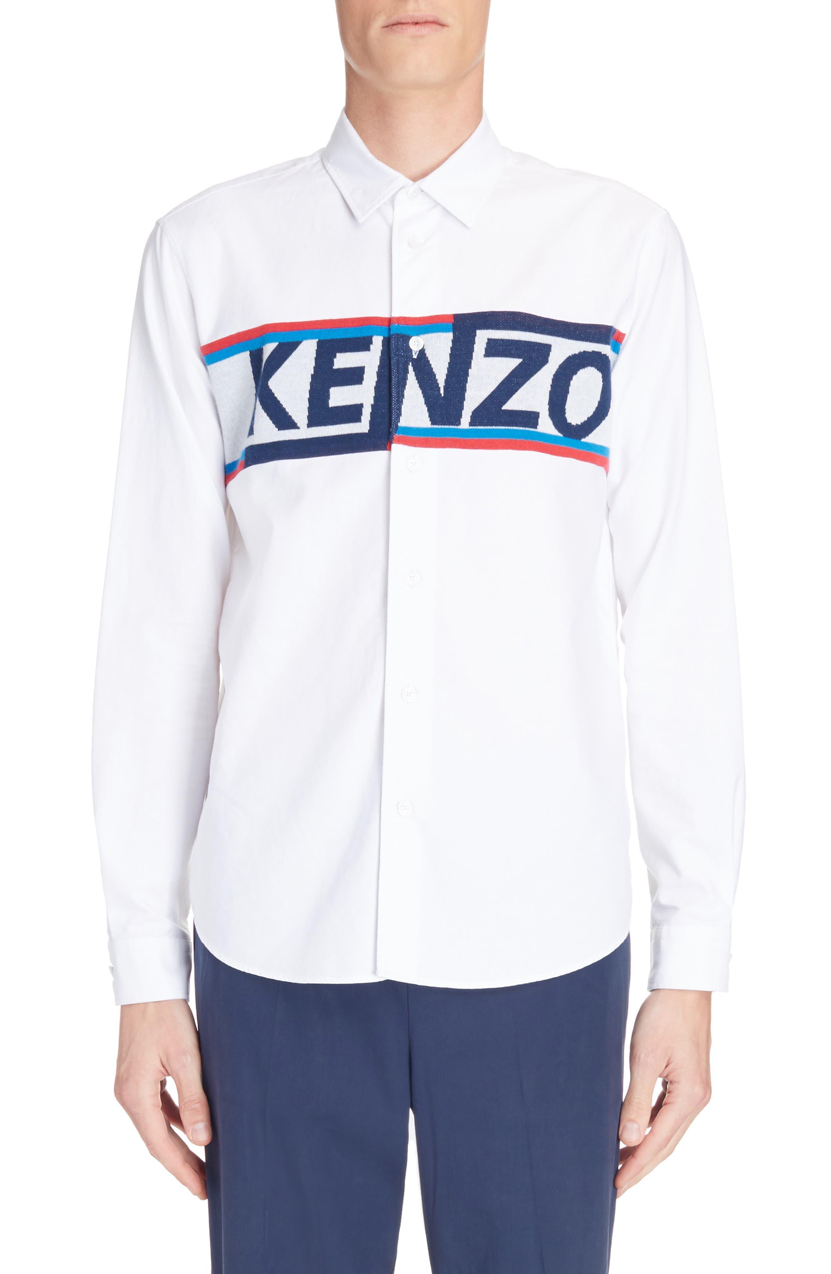 Main Image - KENZO Knit Logo Woven Shirt