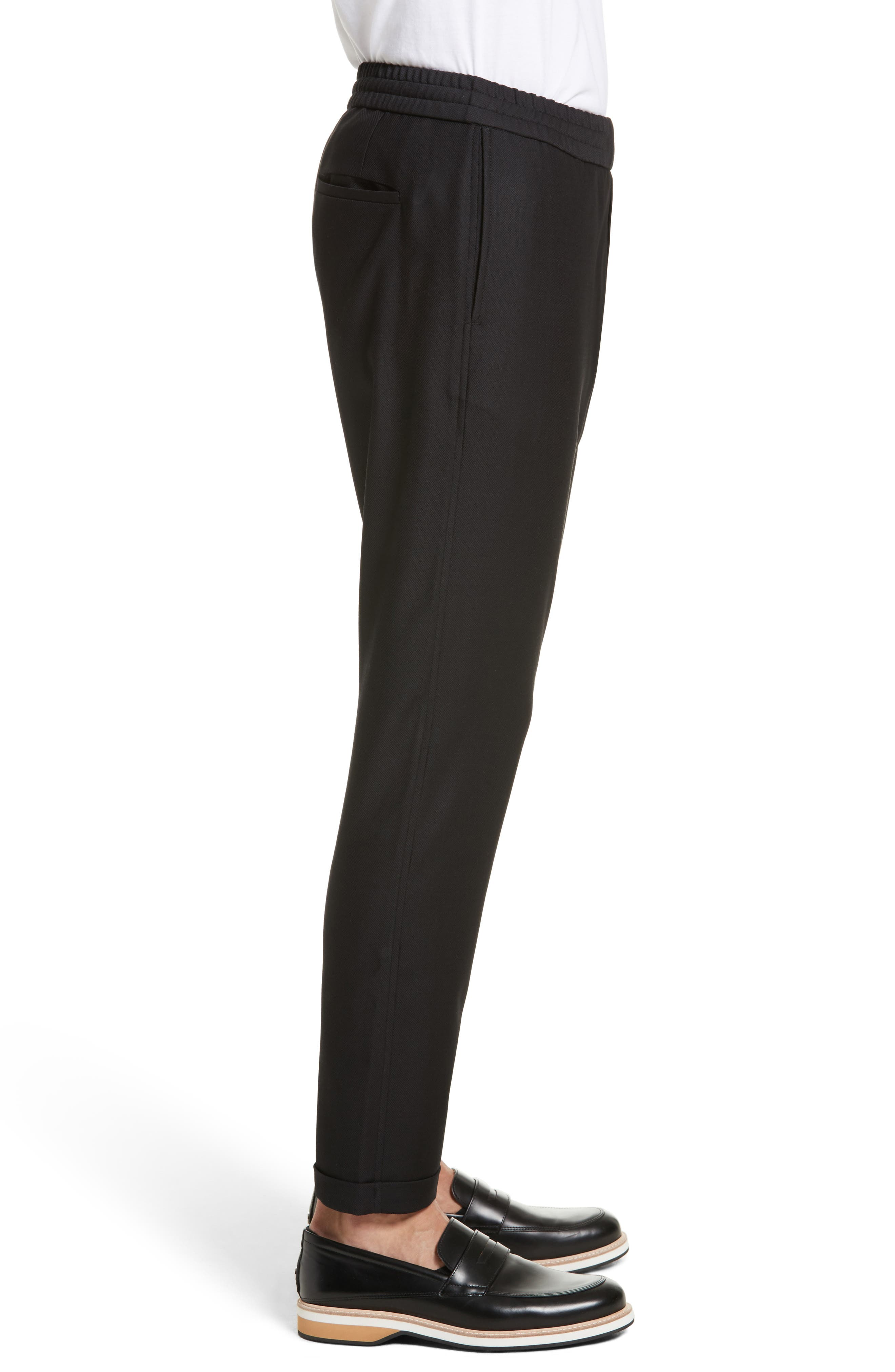 Drawstring Wool Trousers,                             Alternate thumbnail 3, color,                             Black