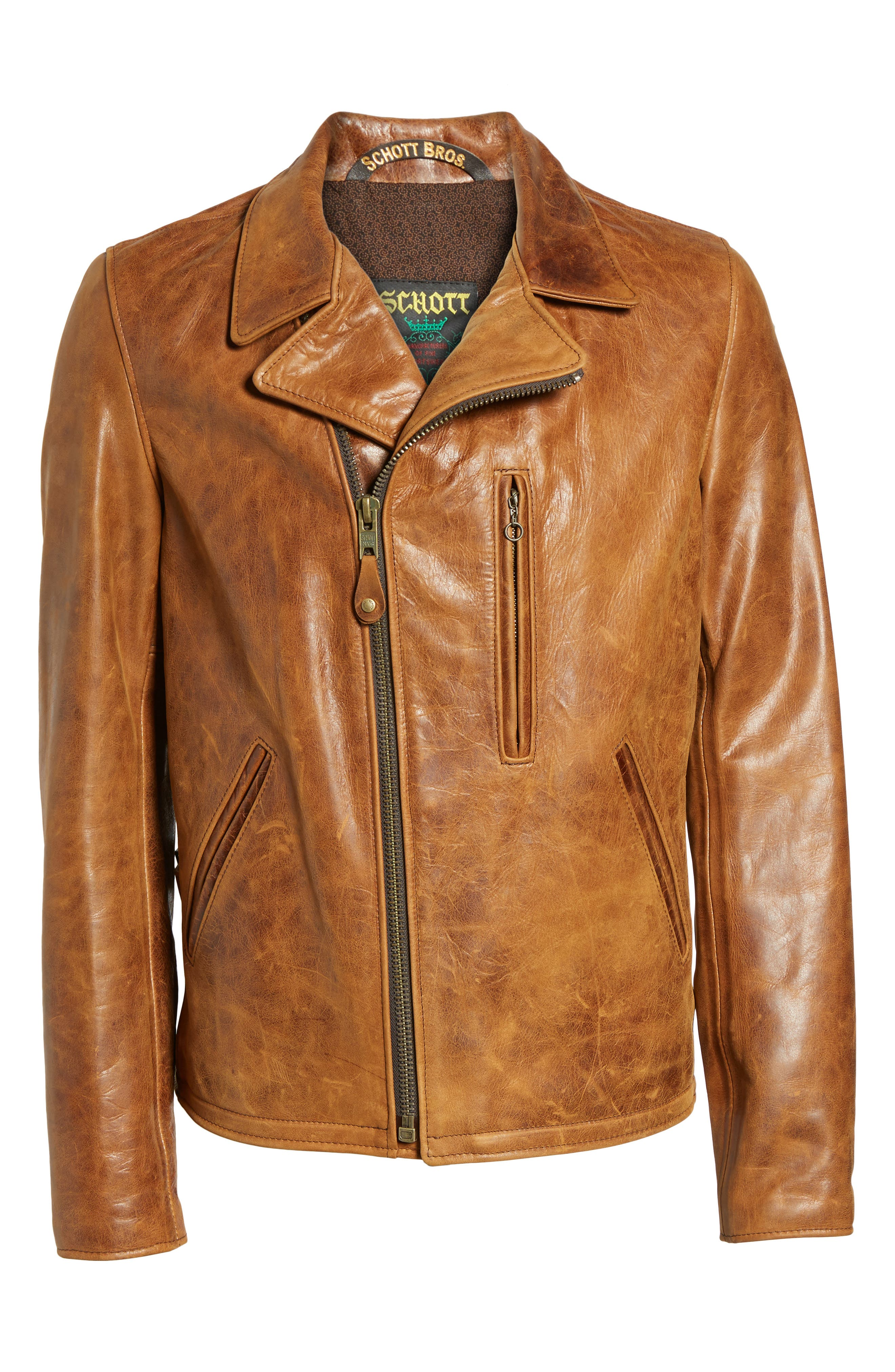Alternate Image 6  - Schott NYC Asymmetrical Waxy Leather Jacket