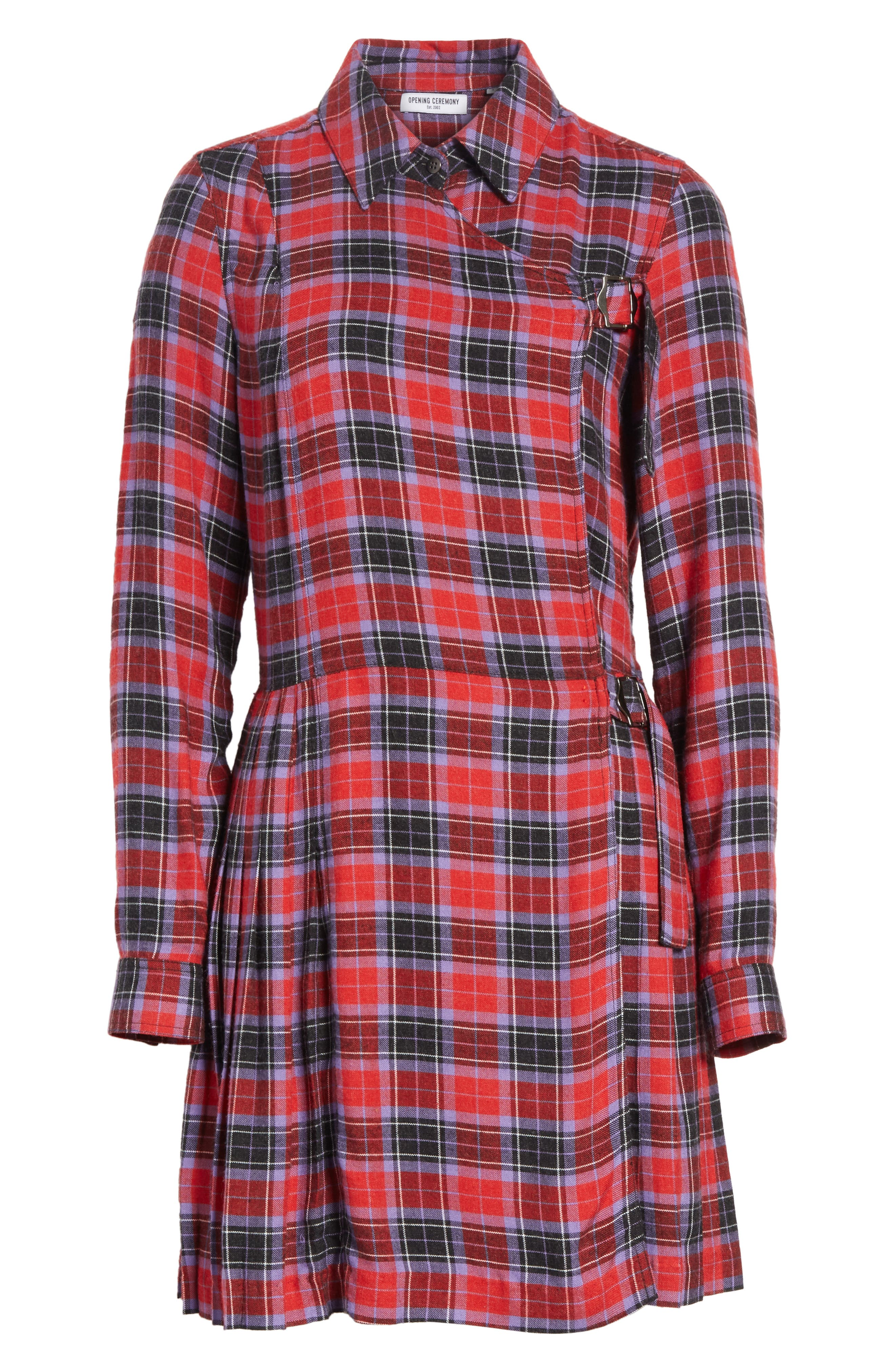 Flannel Kilt Dress,                             Alternate thumbnail 6, color,                             Jewel Red Multi