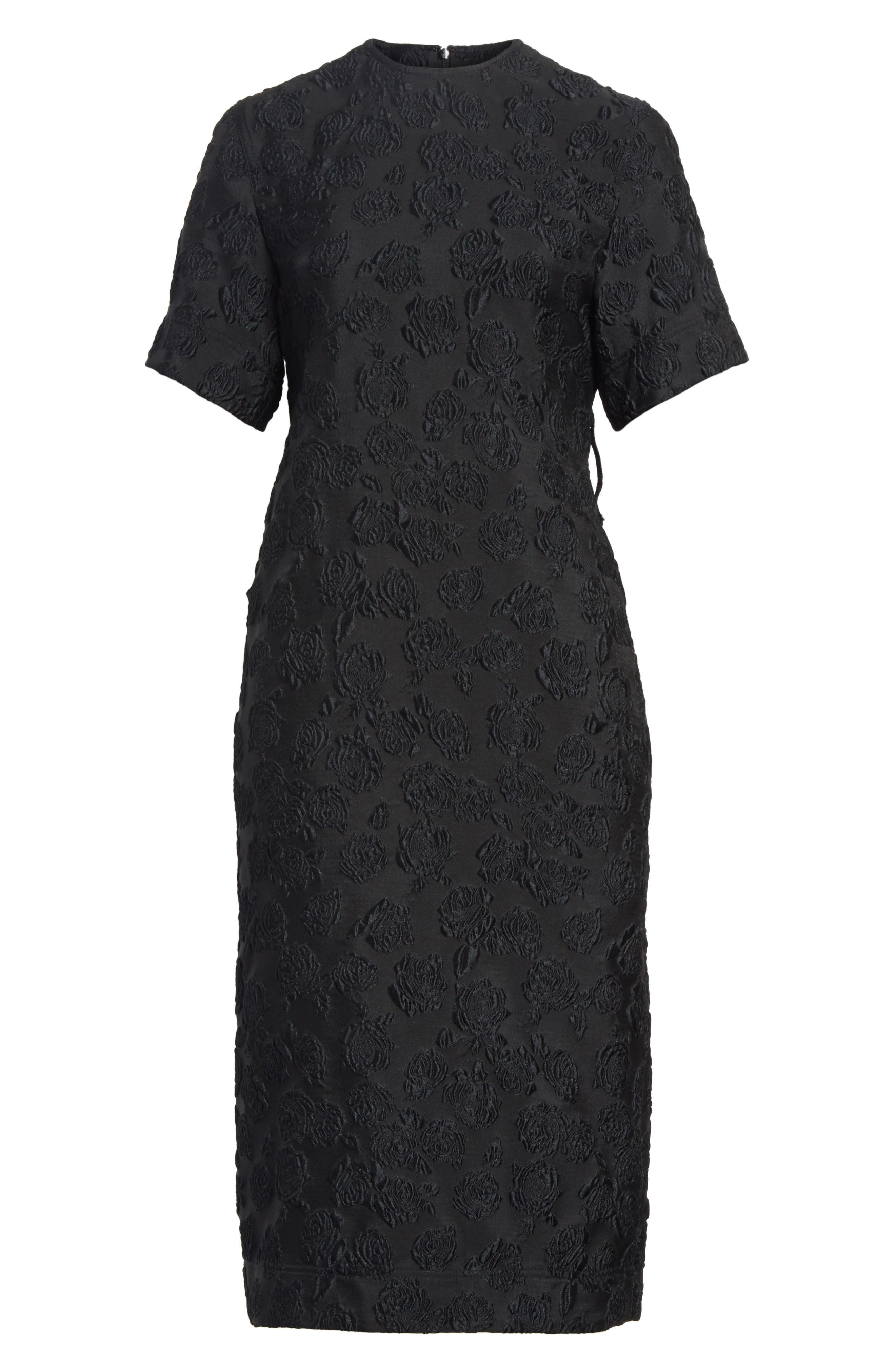 Rose Jacquard Dress,                             Alternate thumbnail 7, color,                             Black