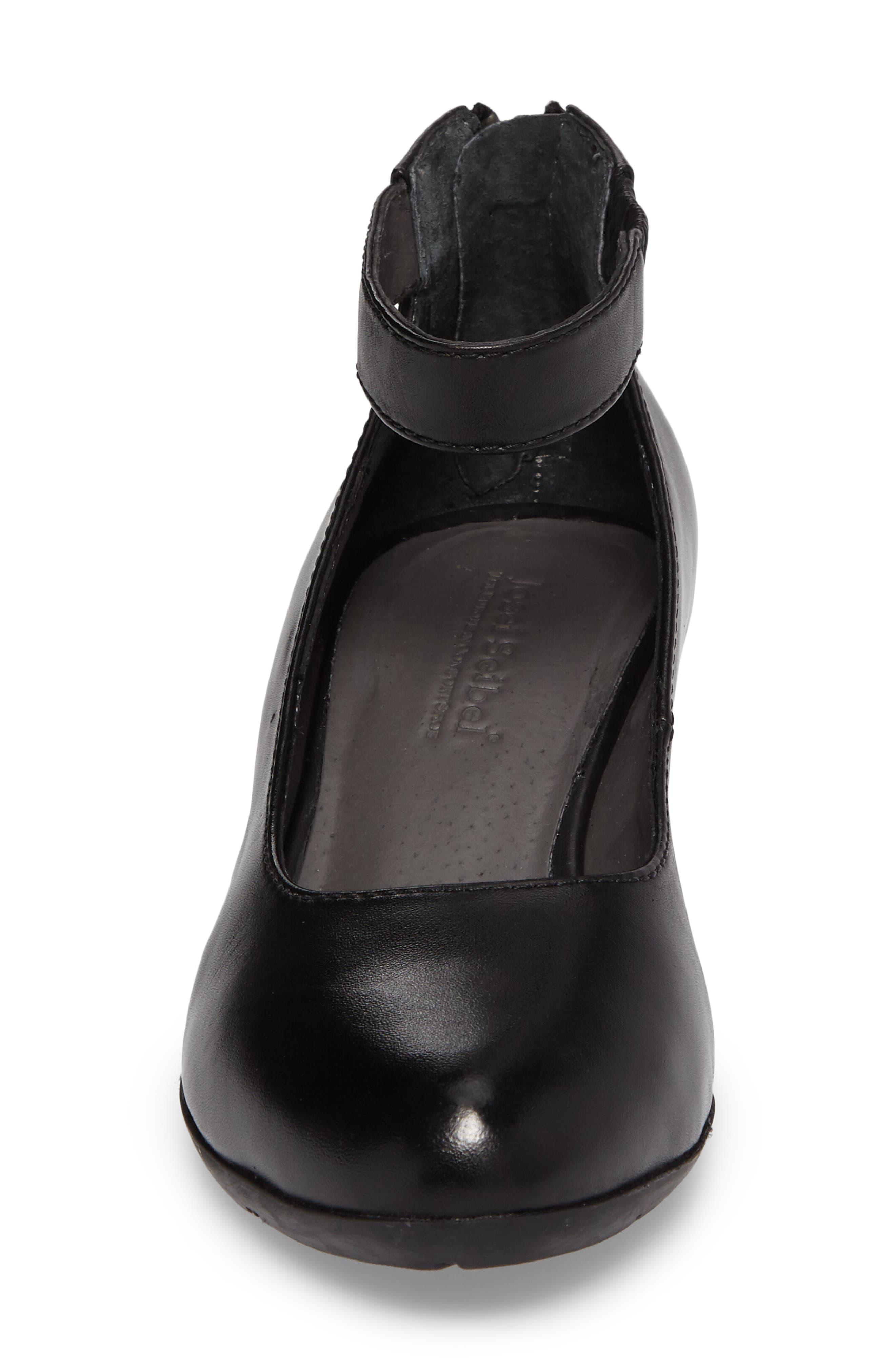Sue 09 Ankle Strap Pump,                             Alternate thumbnail 4, color,                             Black Leather