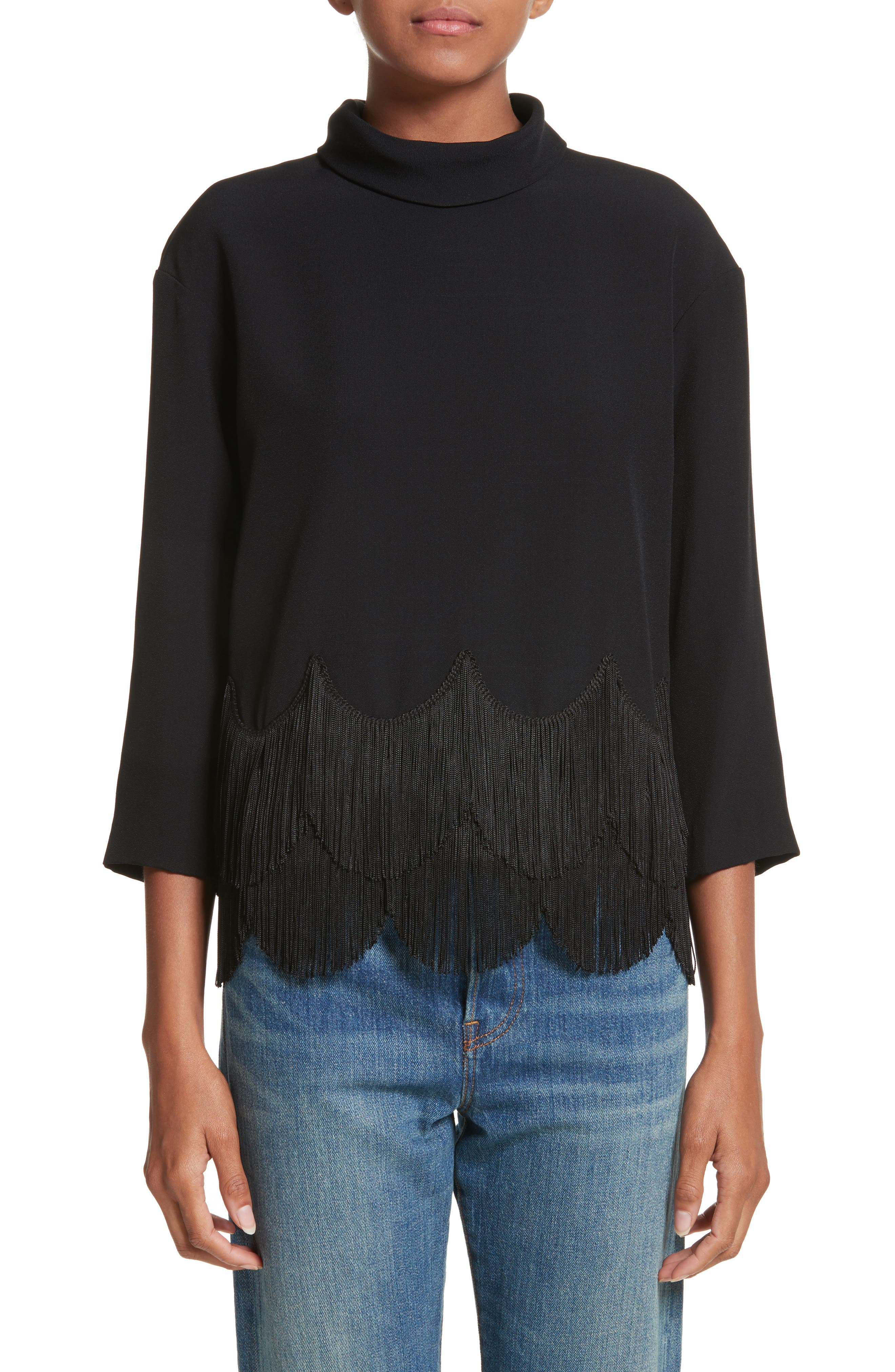 Main Image - MARC JACOBS Fringe Hem Turtleneck