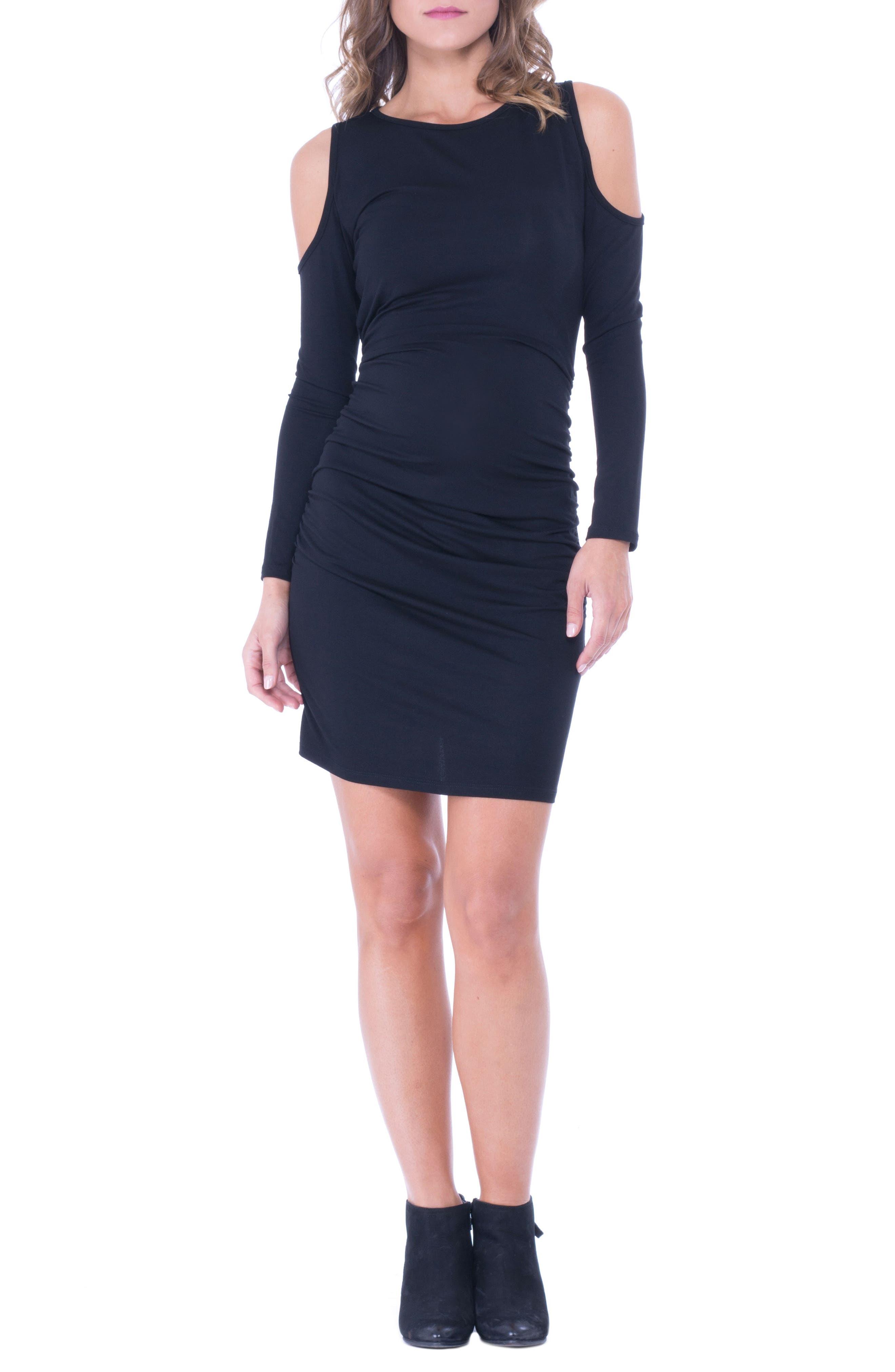 Cold Shoulder Ruched Sheath Dress,                         Main,                         color, Black