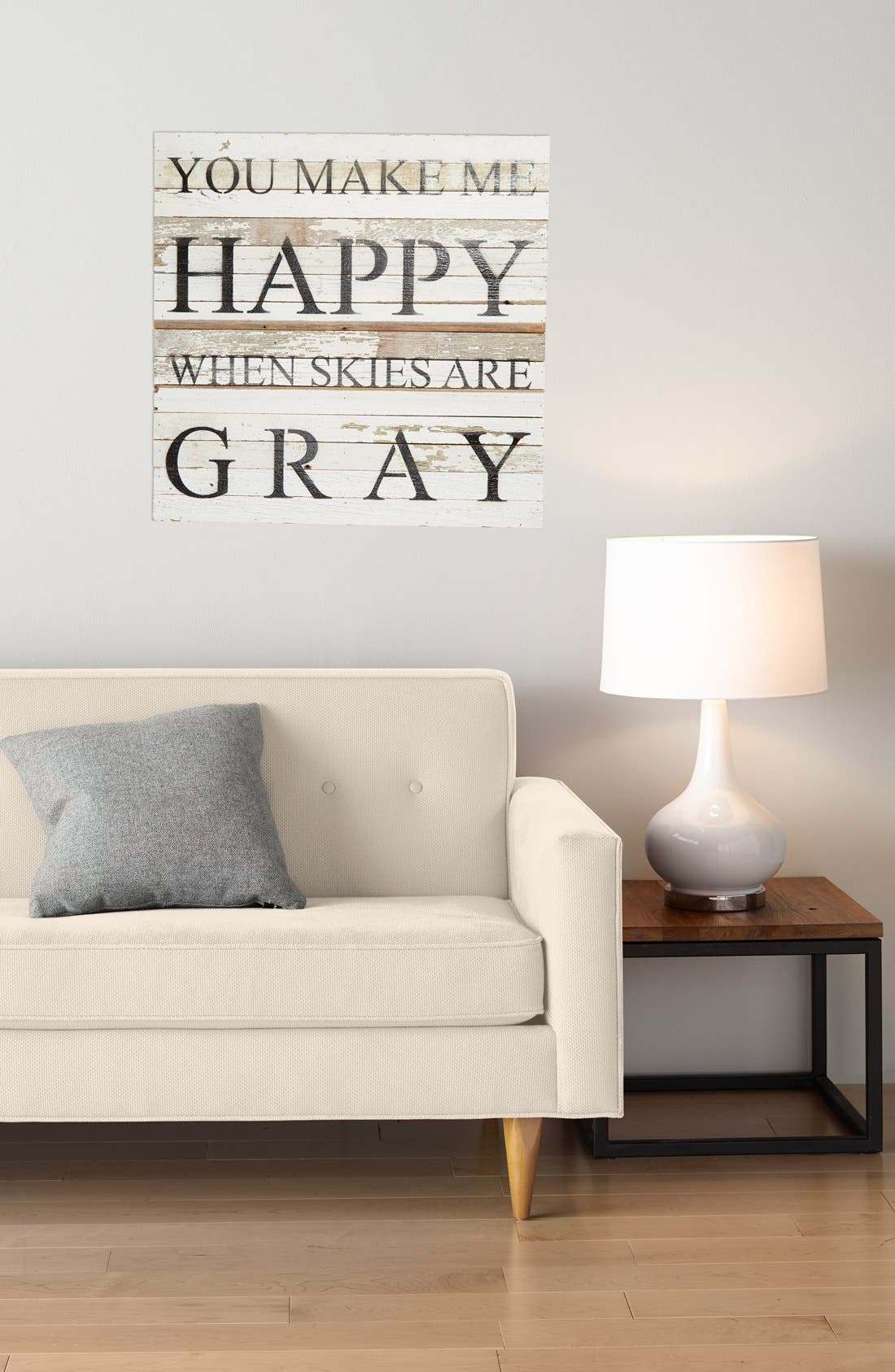 Alternate Image 2  - Second Nature by Hand 'You Make Me Happy When Skies Are Gray' Repurposed Wood Wall Art