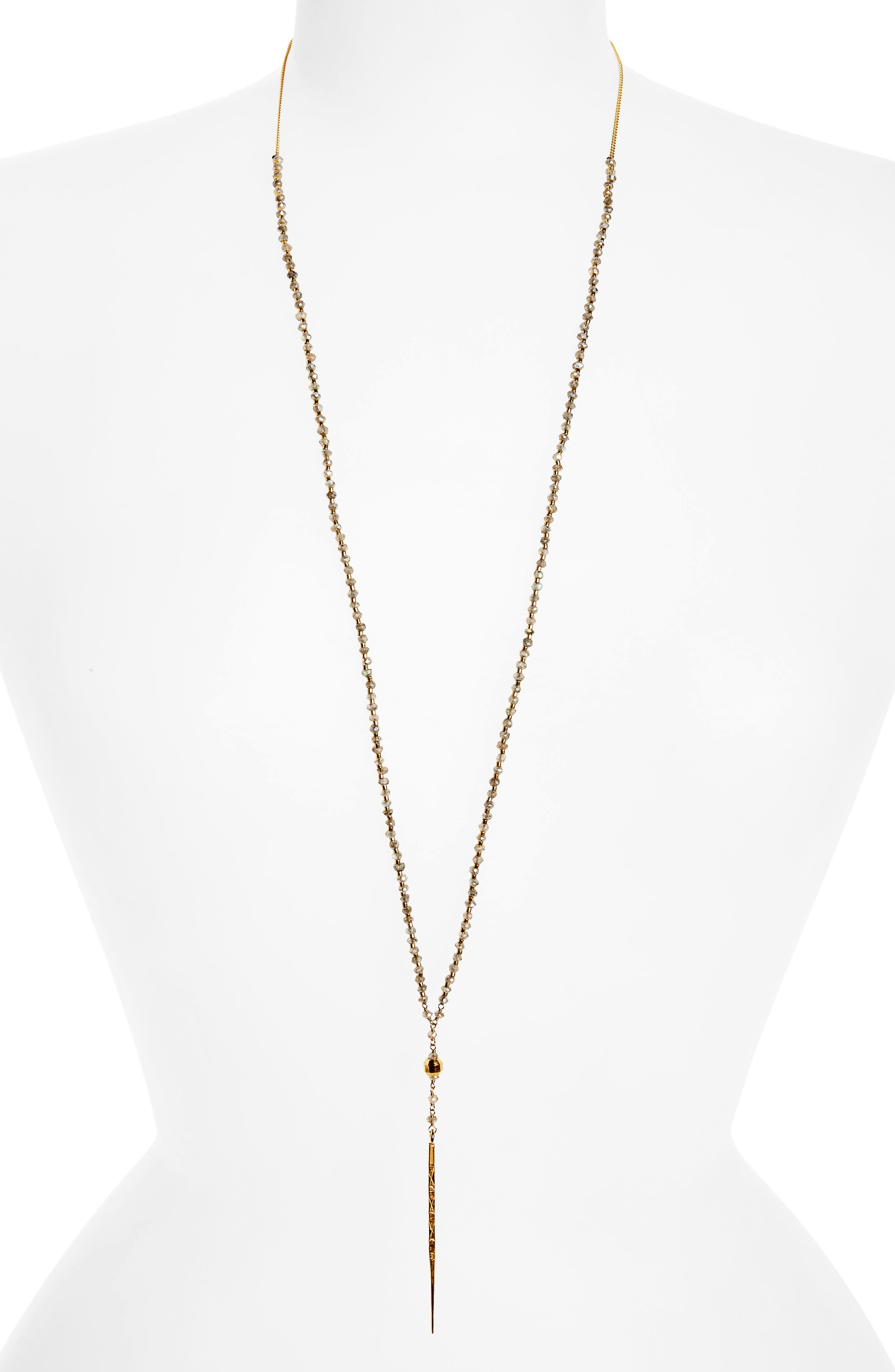 Mystic Labradorite Y-Necklace,                             Main thumbnail 1, color,                             Mystic Lab/ Gold