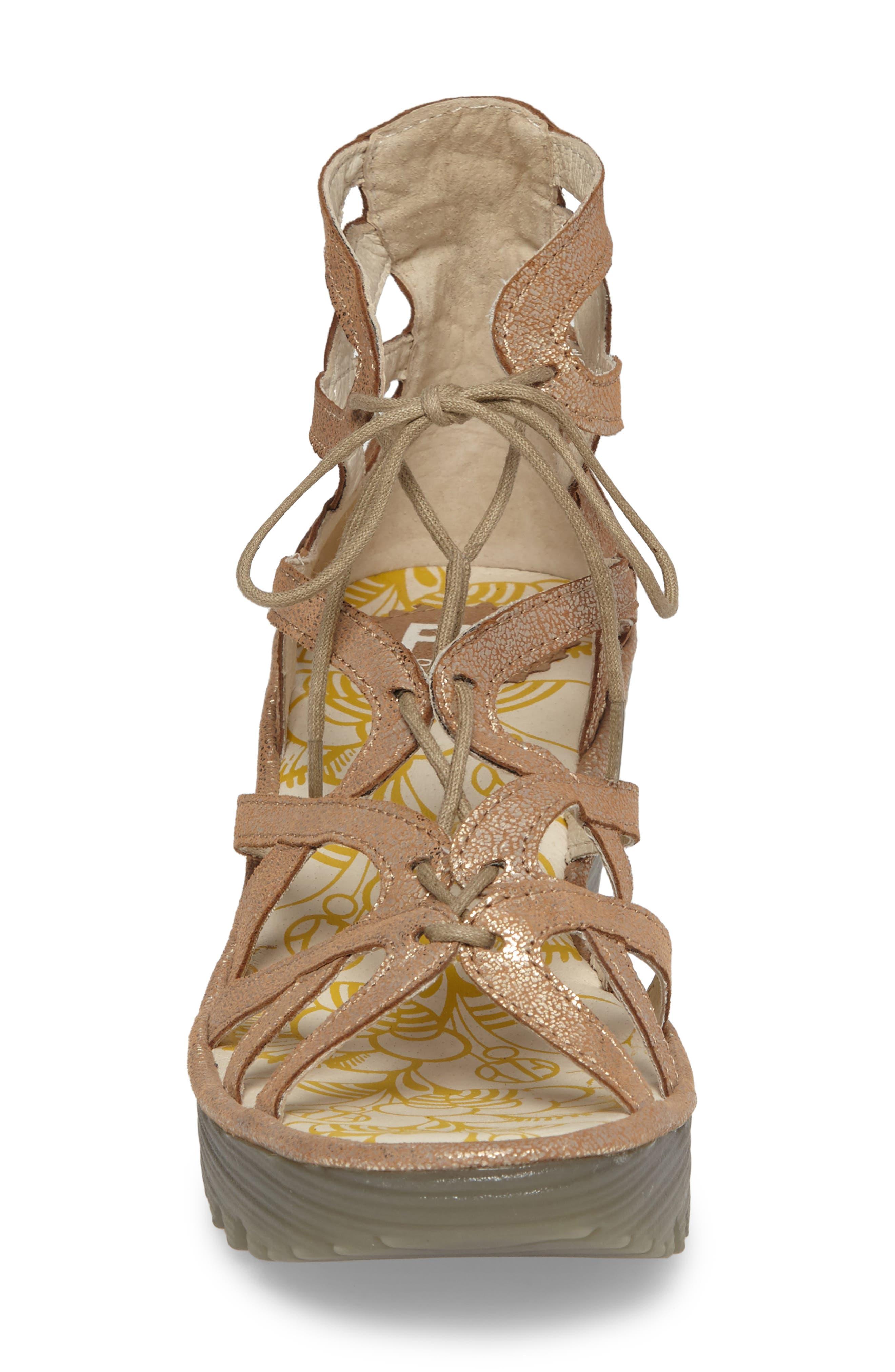 'Yuke' Platform Wedge Sandal,                             Alternate thumbnail 4, color,                             Luna Leather