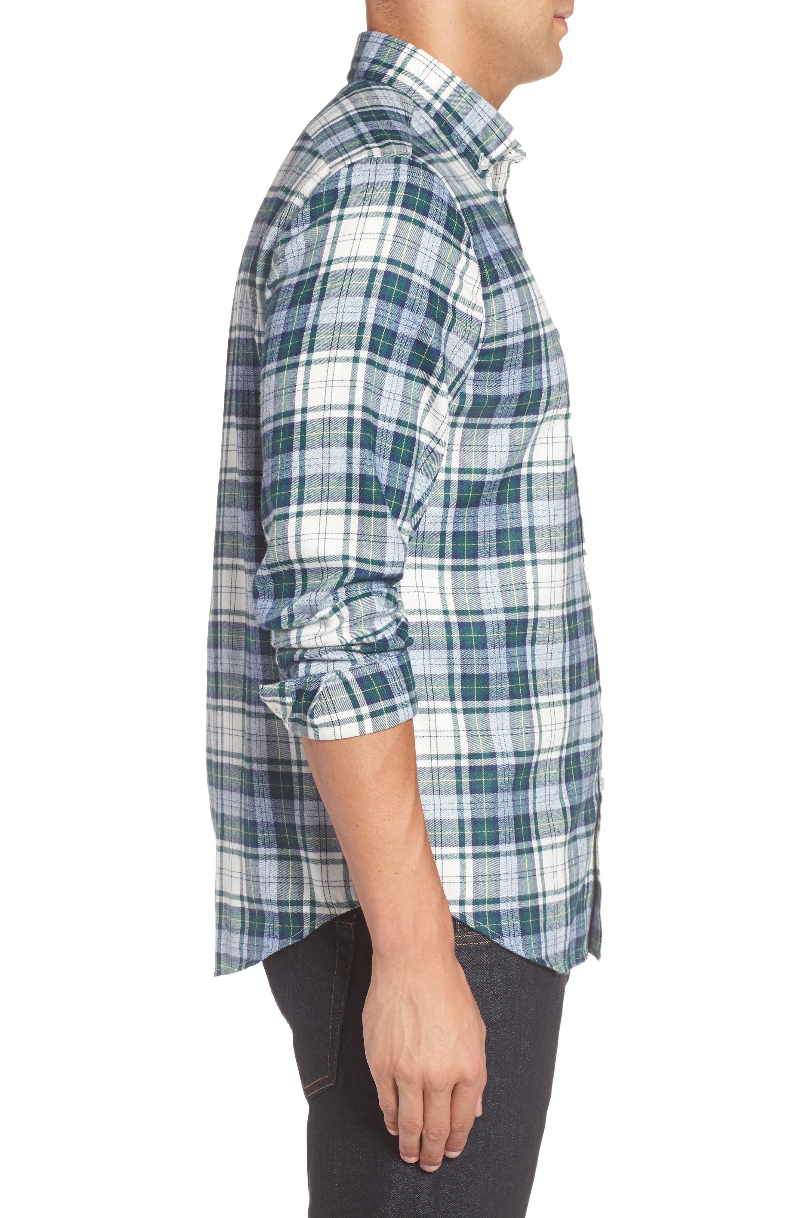 Tucker Hayward Point Slim Fit Plaid Sport Shirt,                             Alternate thumbnail 3, color,                             Charleston Green