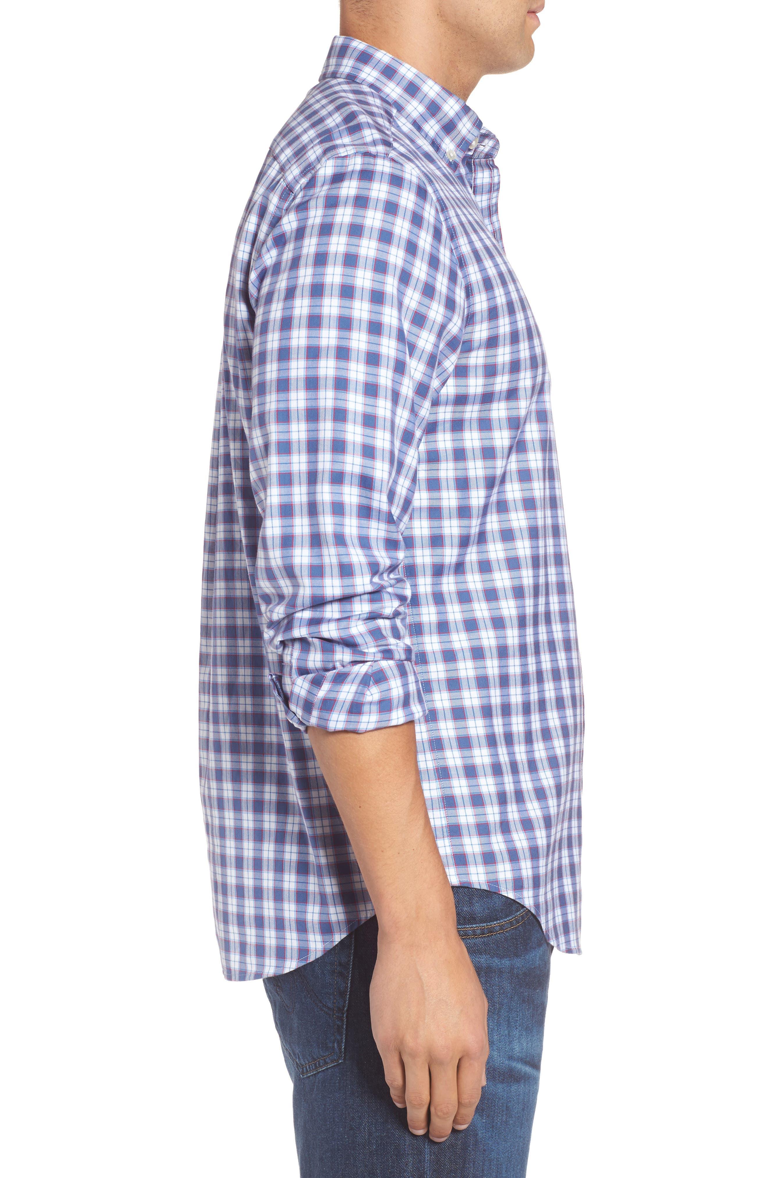 Murray Edgewater Plaid Classic Fit Sport Shirt,                             Alternate thumbnail 3, color,                             Moonshine