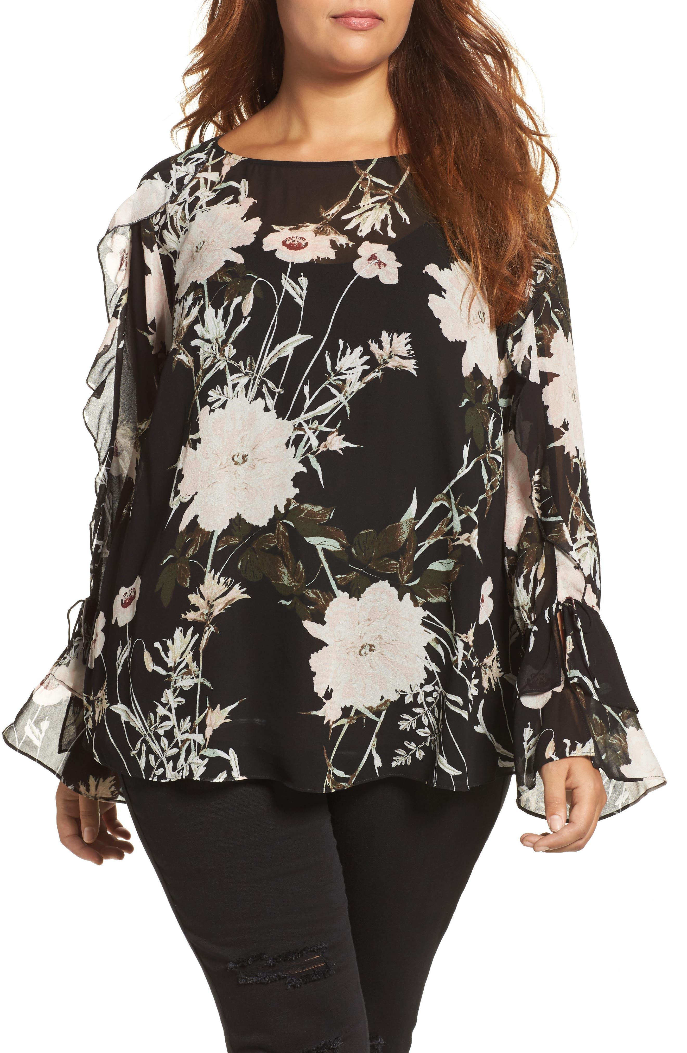 Floral Print Bell Sleeve Top,                         Main,                         color, Black Multi